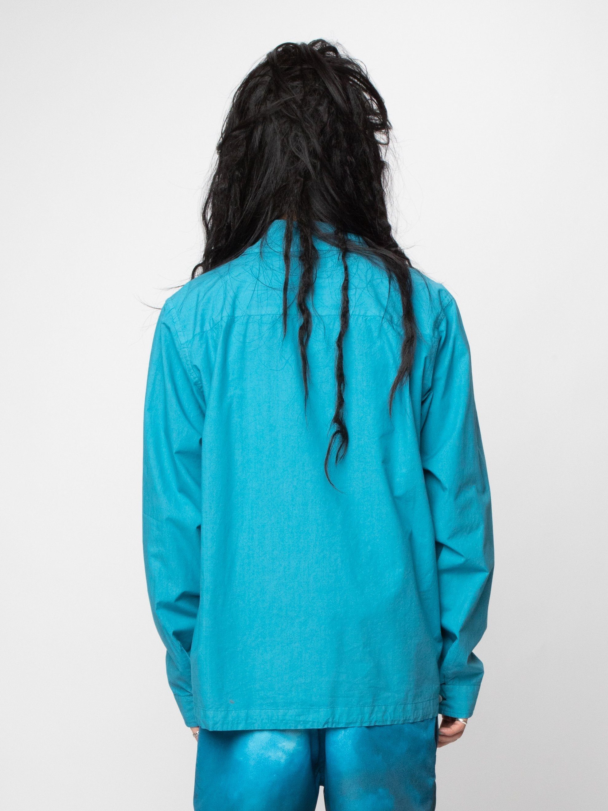 Blue/Green Button Silk Blend Blouson 6