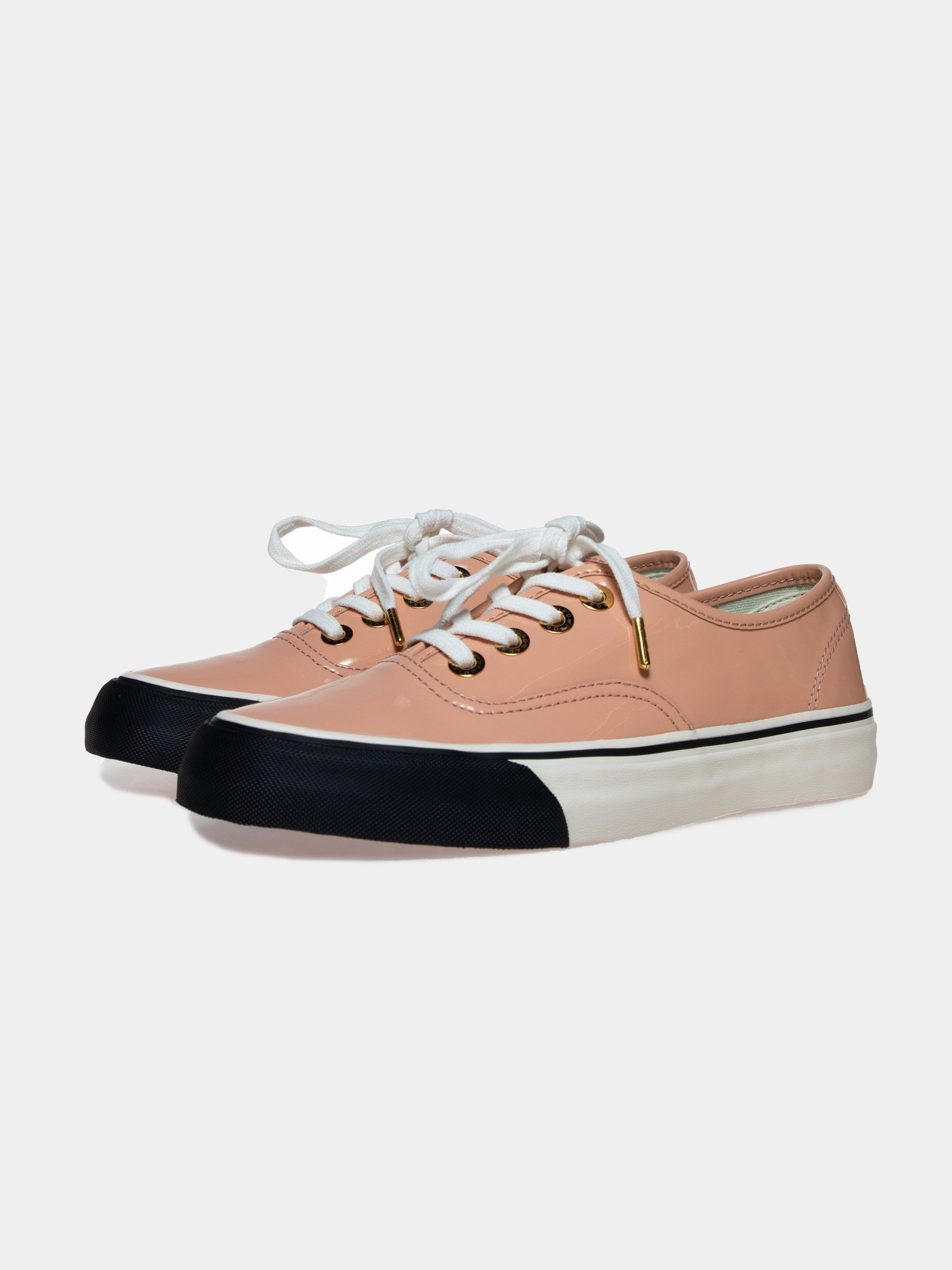 Pink/Beige Leather Skate Sneakers 2