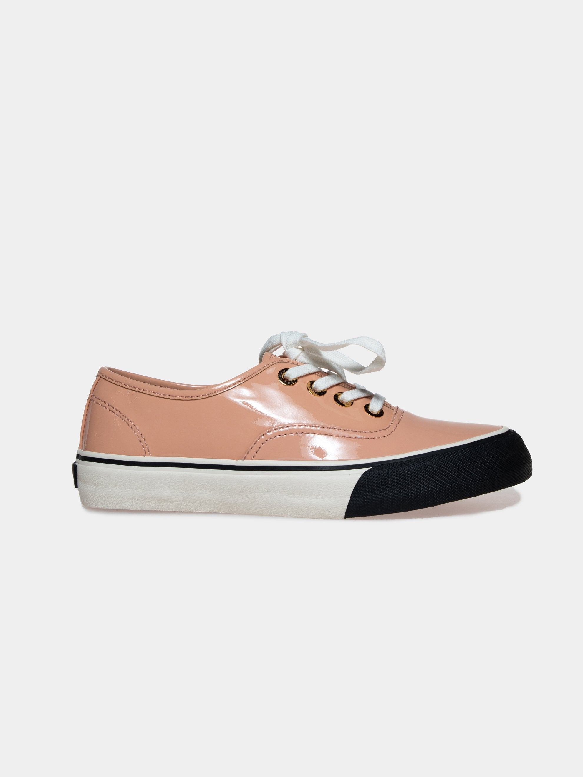 Pink/Beige Leather Skate Sneakers 1