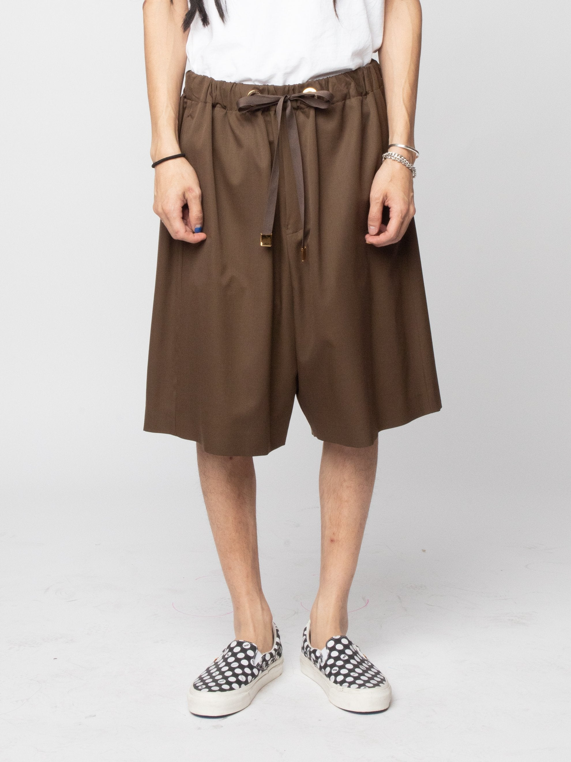 Brown Wool Woven Shorts 2