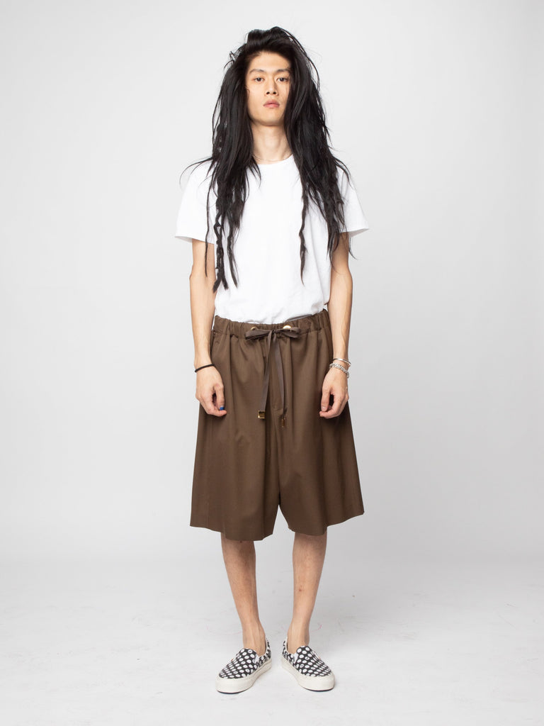 Brown Wool Woven Shorts 314286829944909