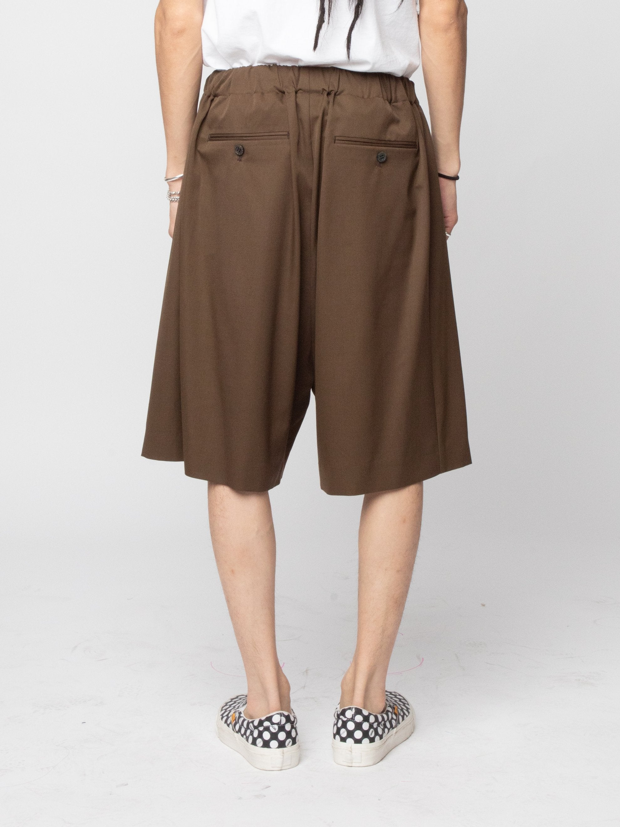 Brown Wool Woven Shorts 4