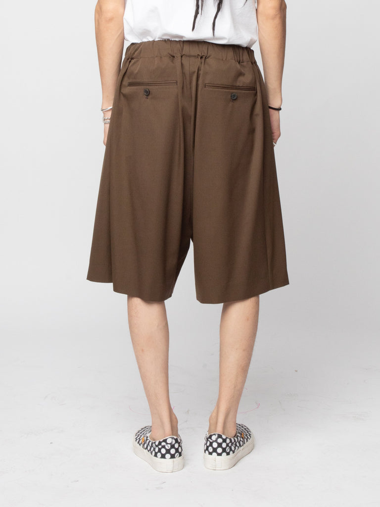 Brown Wool Woven Shorts 414286829977677