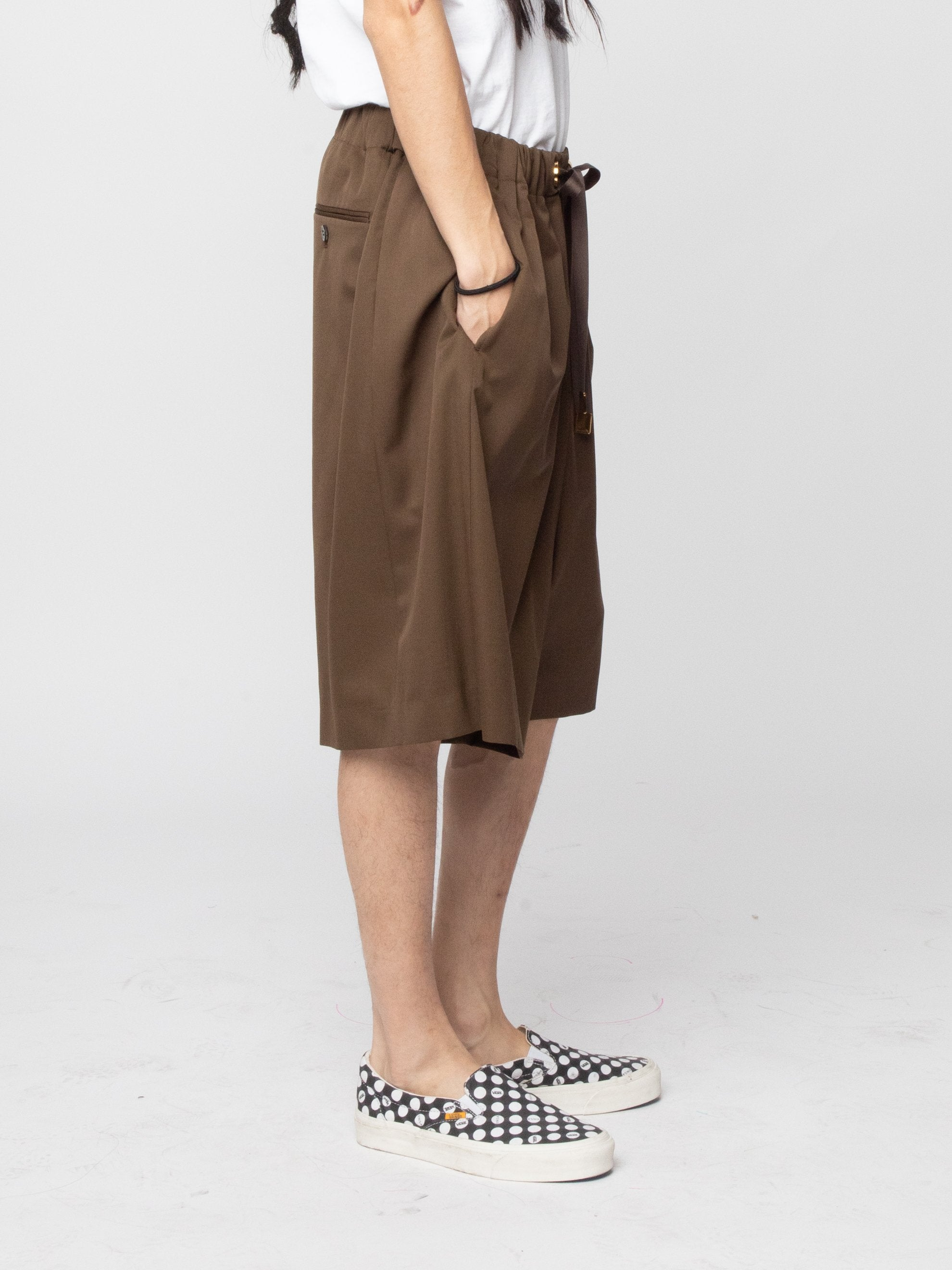 Brown Wool Woven Shorts 5