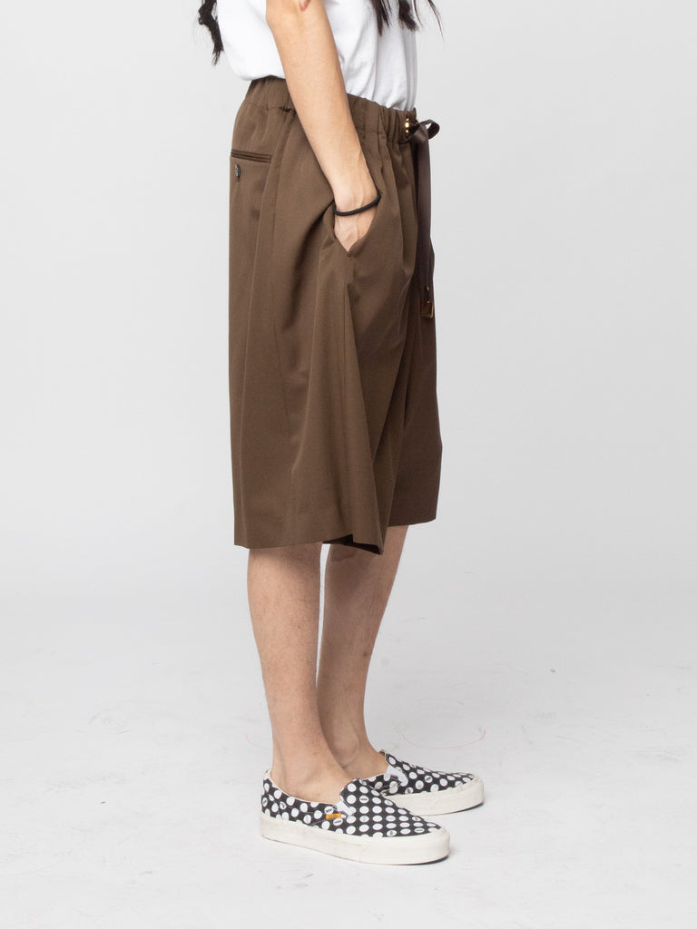 Brown Wool Woven Shorts 514286830010445