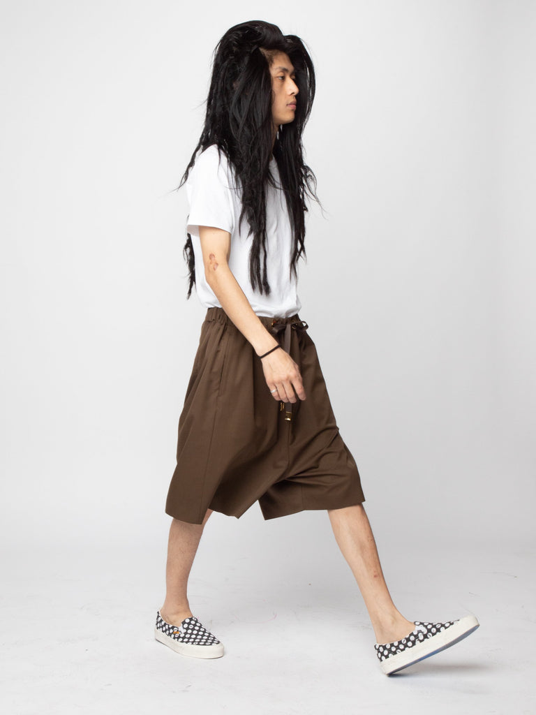 Brown Wool Woven Shorts 614286830043213