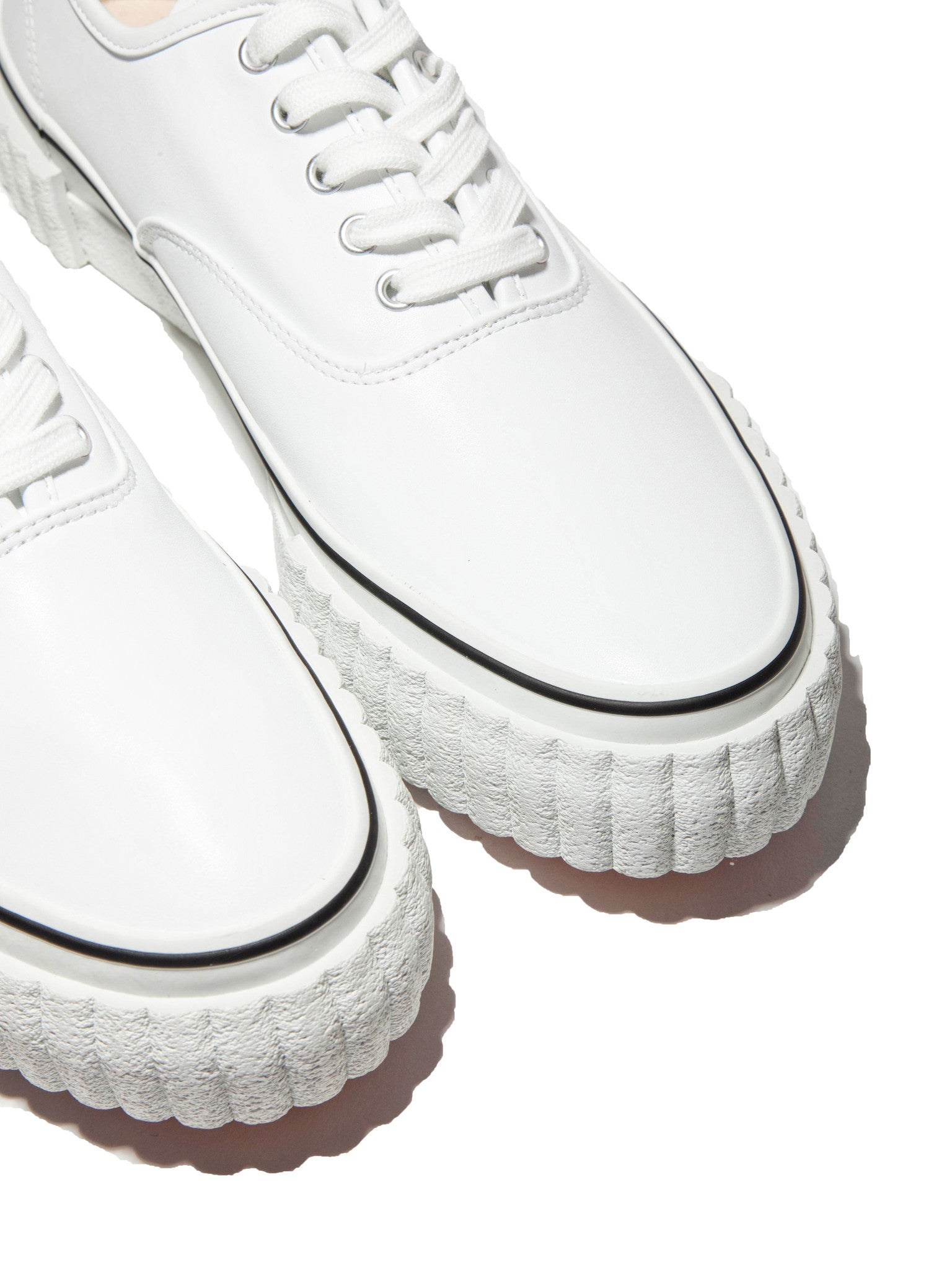 White Leather Creeper Lace-Up Sneaker 2