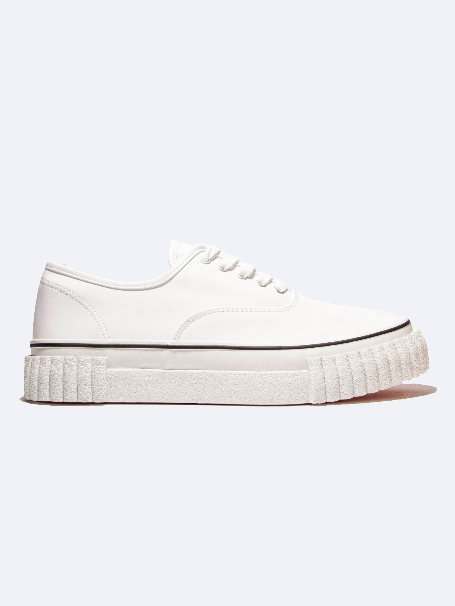 White Leather Creeper Lace-Up Sneaker 1