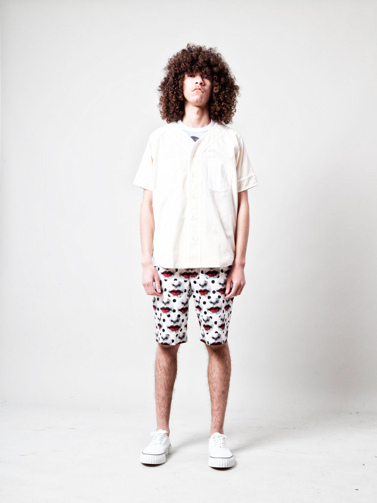 M Mixed Fabric Baseball Shirt 218995612745