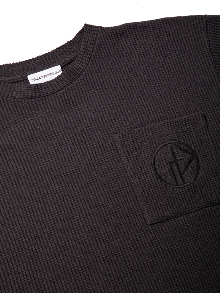 Black Waffle Knit Short Sleeve Sweater 318263820169