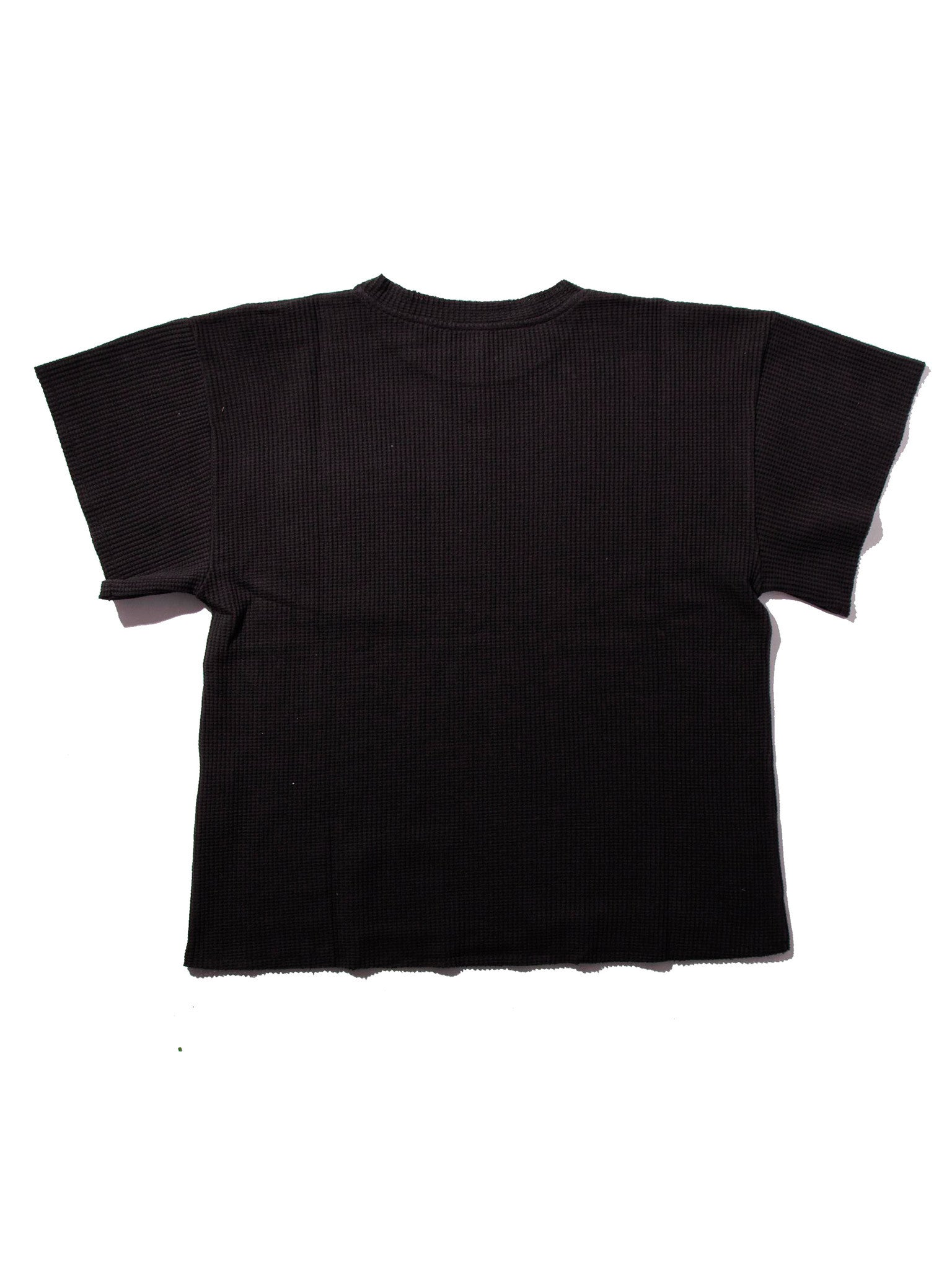 Black Waffle Knit Short Sleeve Sweater 2