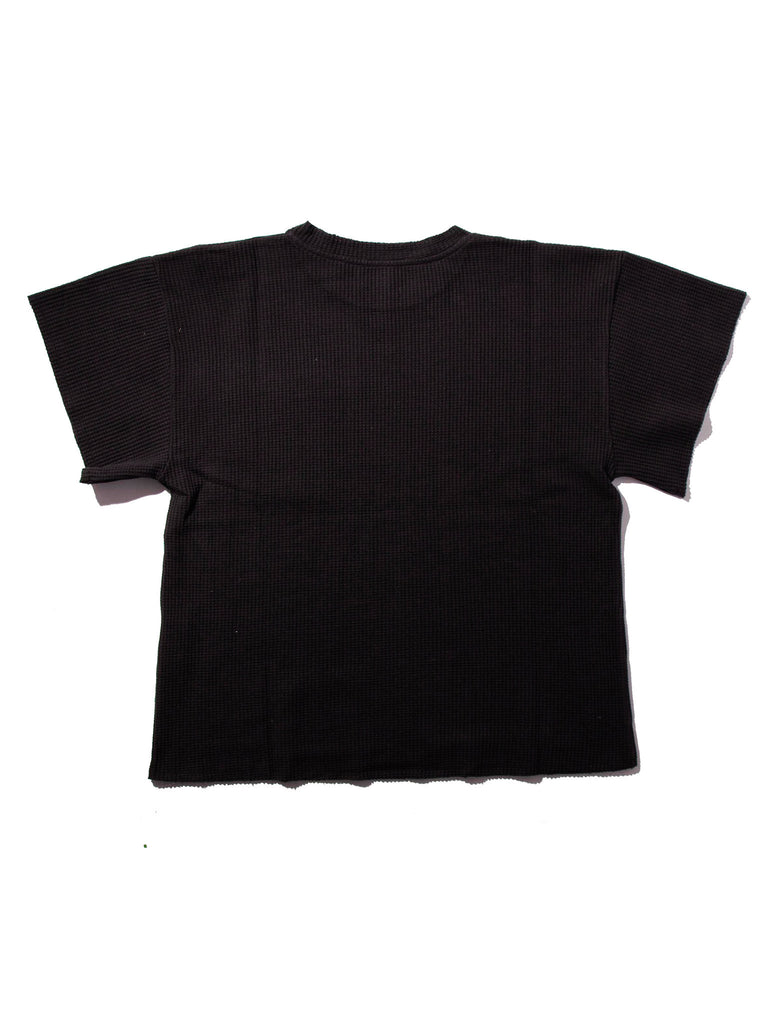 Black Waffle Knit Short Sleeve Sweater 218263825673
