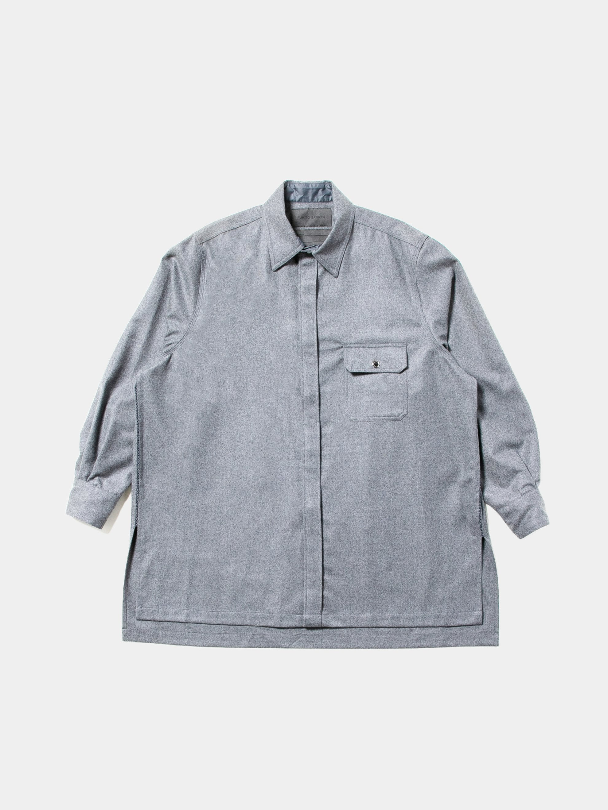 Top Gray Elongated Wool Pocket Shirt 1