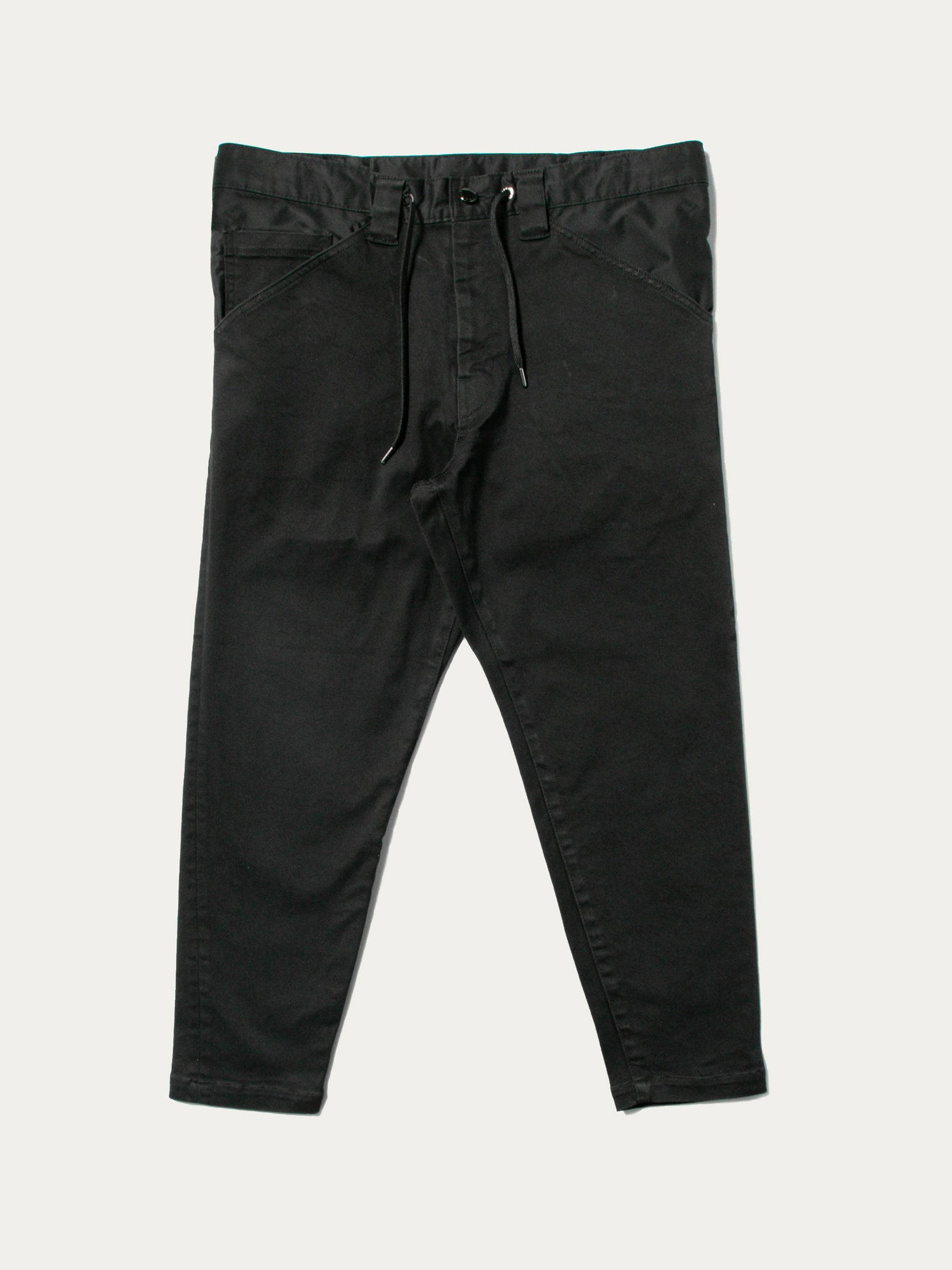 Black Twill 5-Pocket Drawstring Pants 1