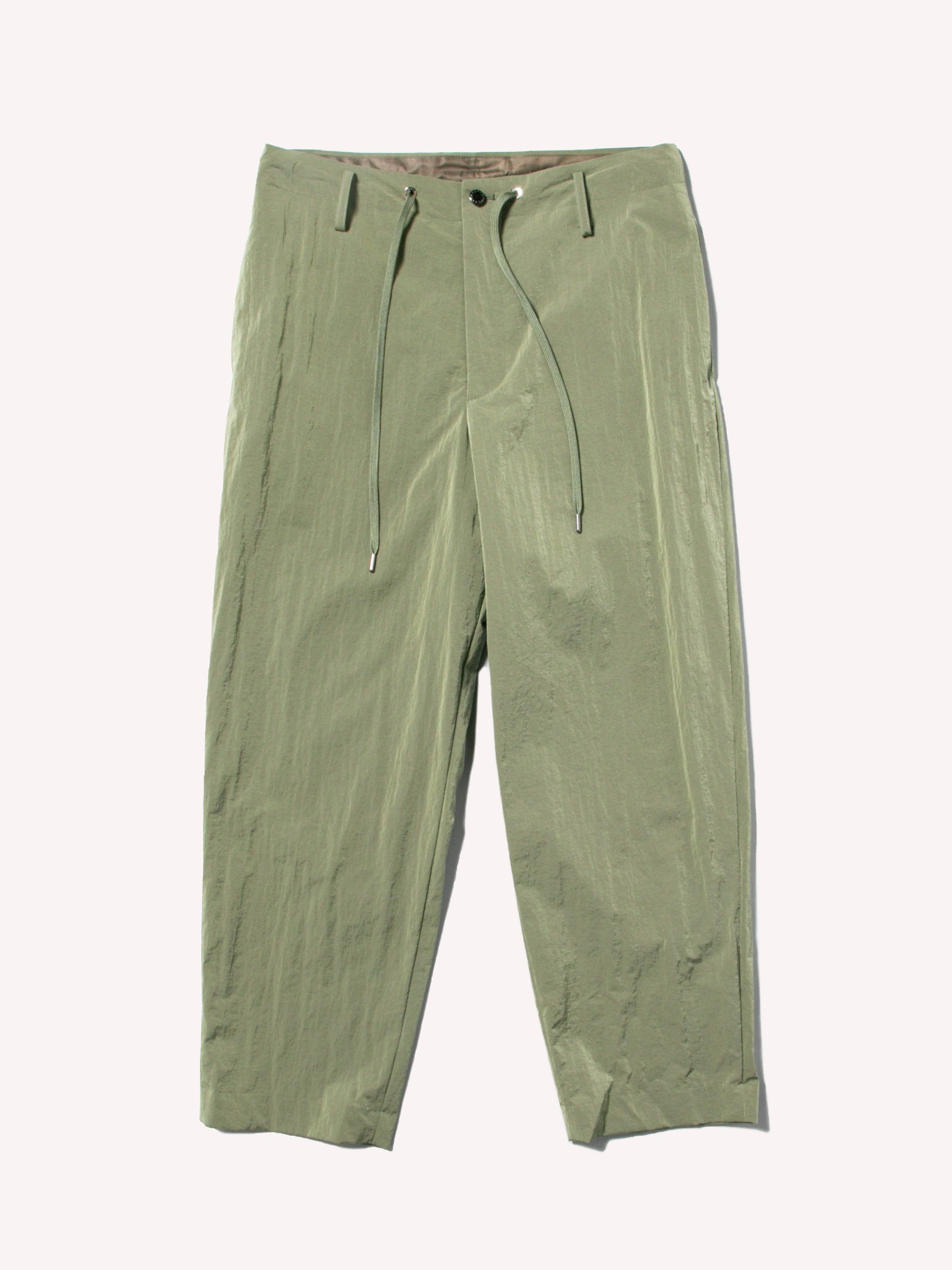 Khaki Green Nylon Drawstring Pants 1