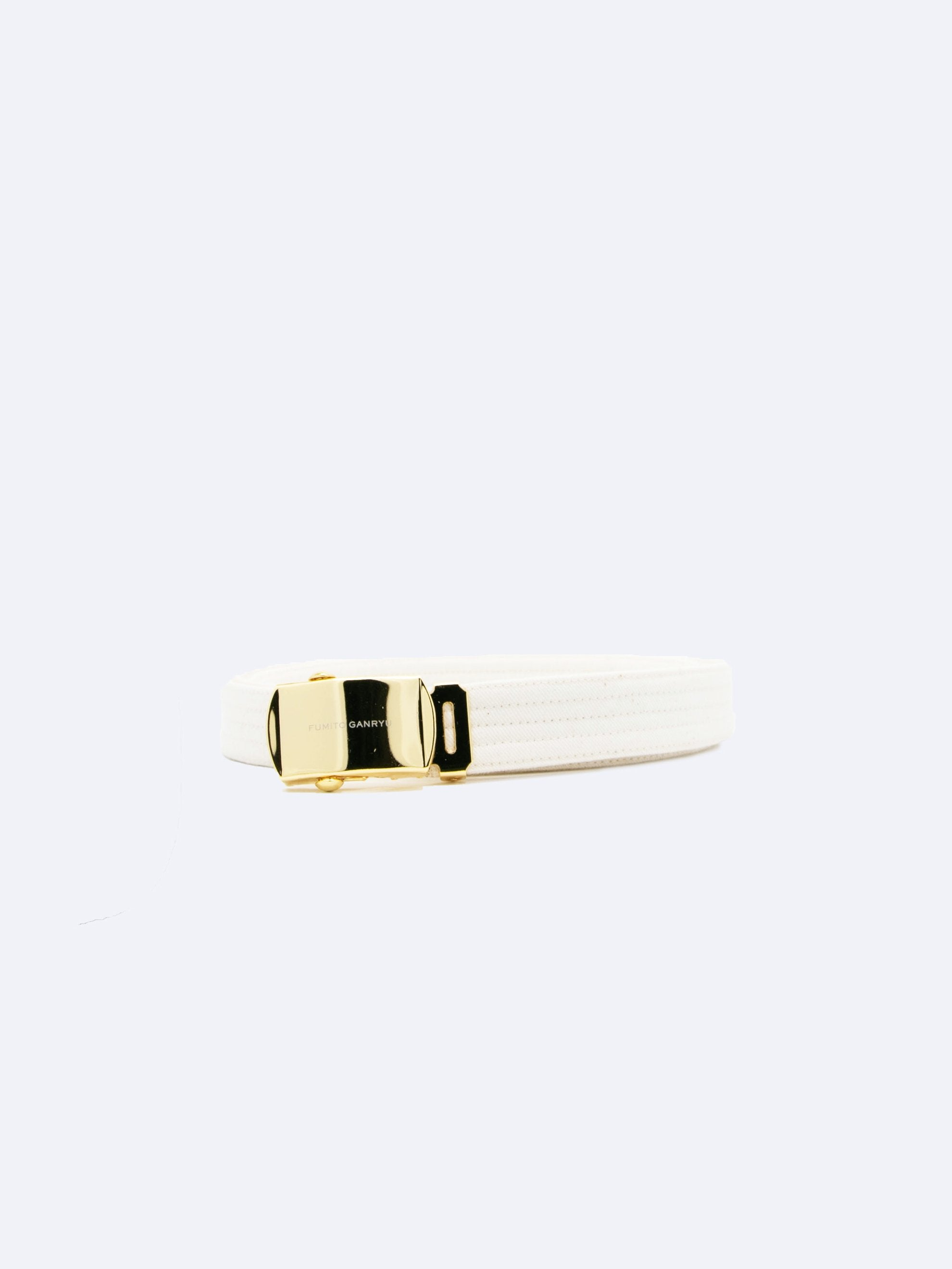 Beige Slim Judo Web Roller Buckle Belt 1