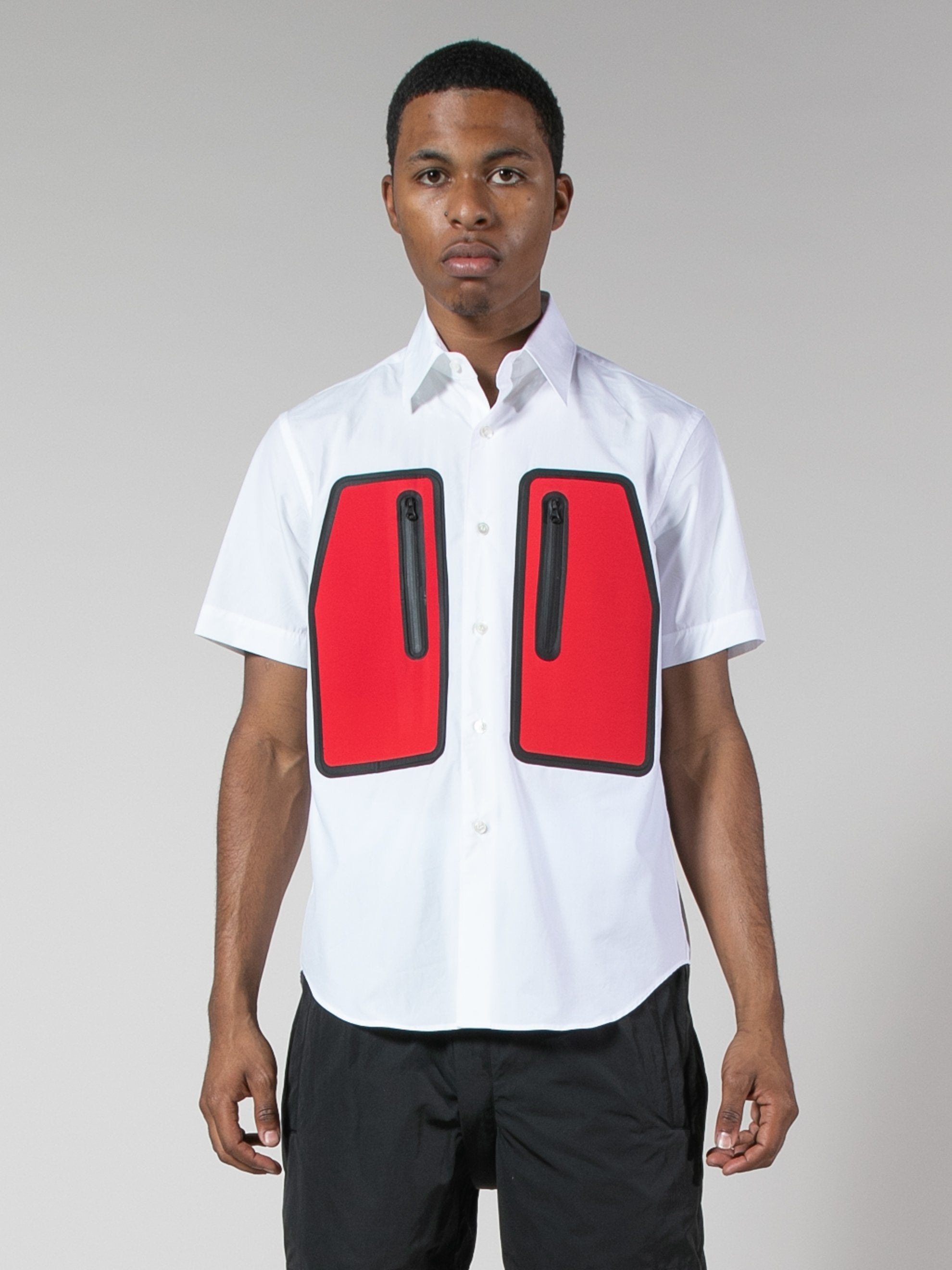 White/Red Water Resistant Pocket Shirt 2