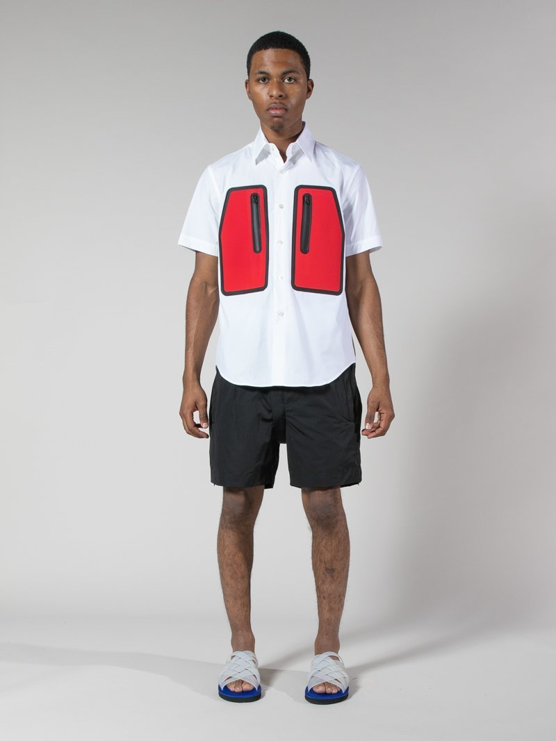 White/Red Water Resistant Pocket Shirt 3