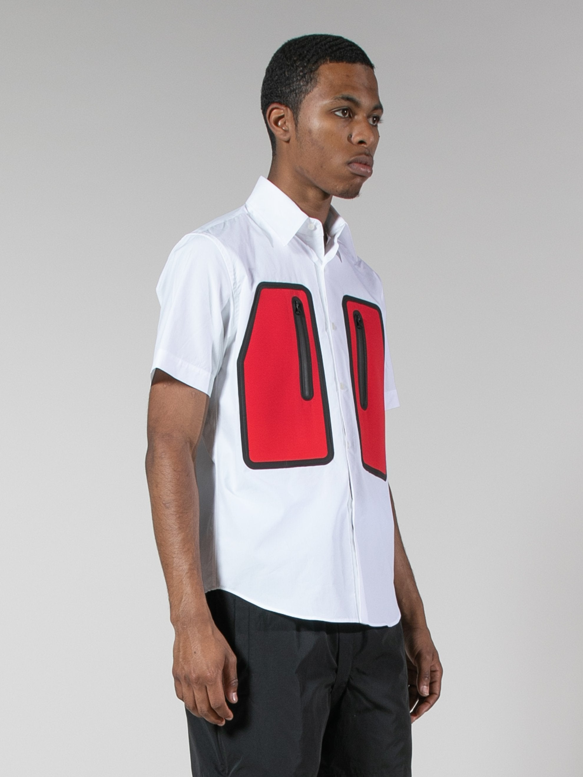 White/Red Water Resistant Pocket Shirt 4