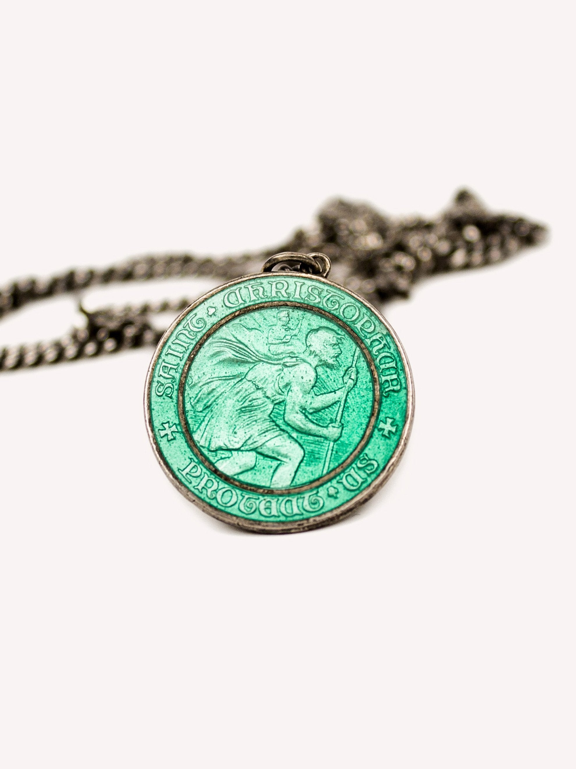 Sterling Silver 1960's Sterling Silver and Enamel St. Christopher Necklace 1