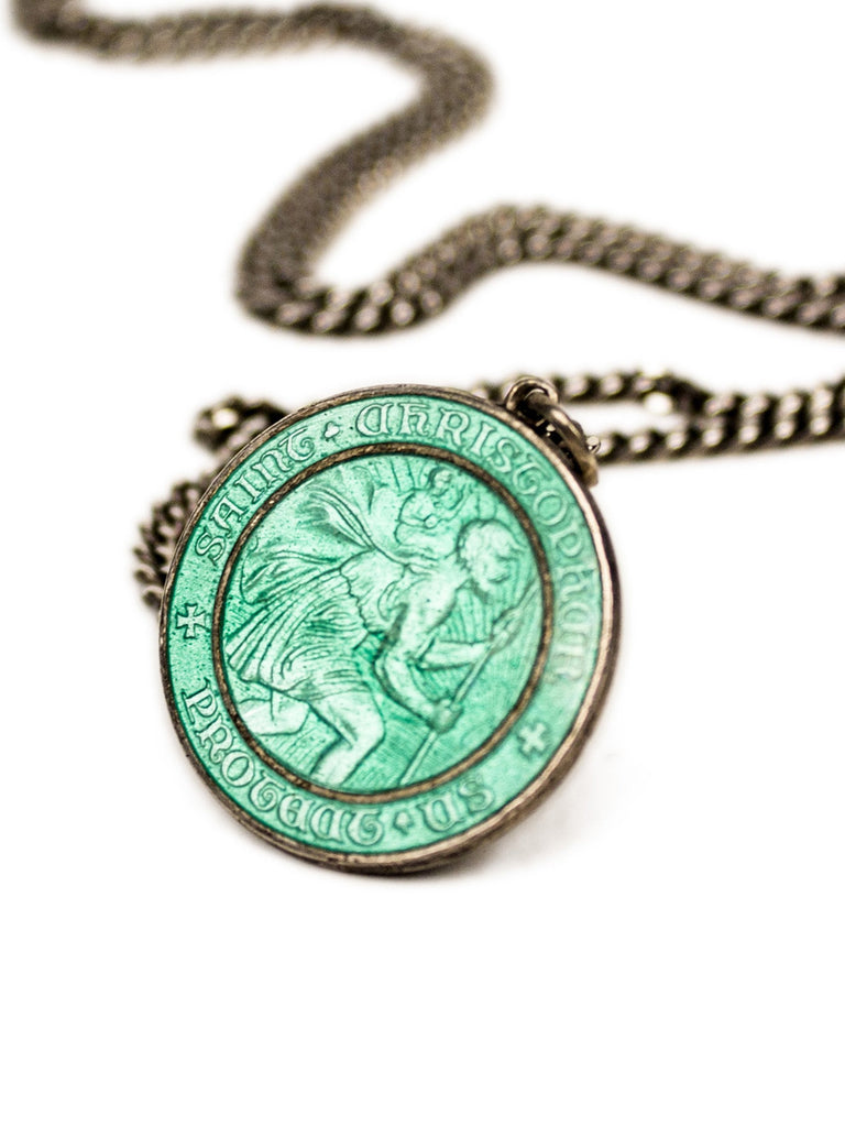 Sterling Silver 1960's Sterling Silver and Enamel St. Christopher Necklace 222523996809