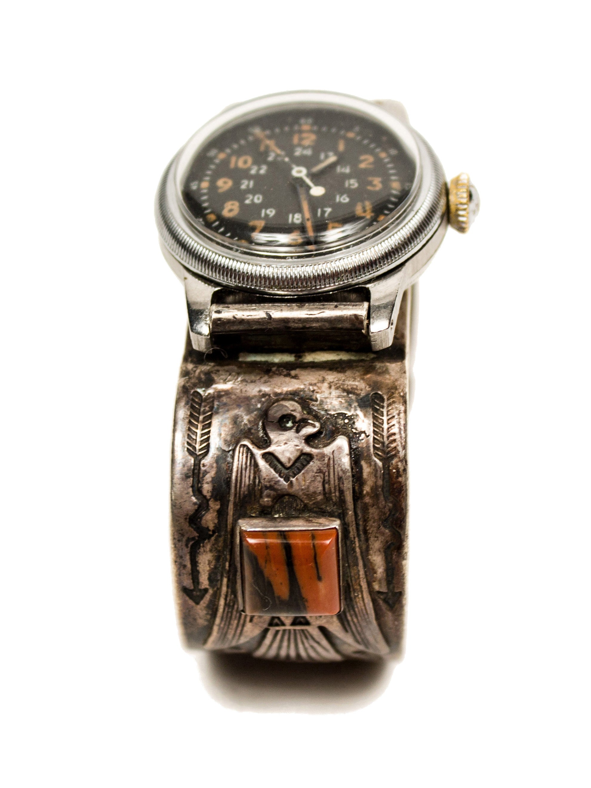 1940's Coin Silver Indian Watchband