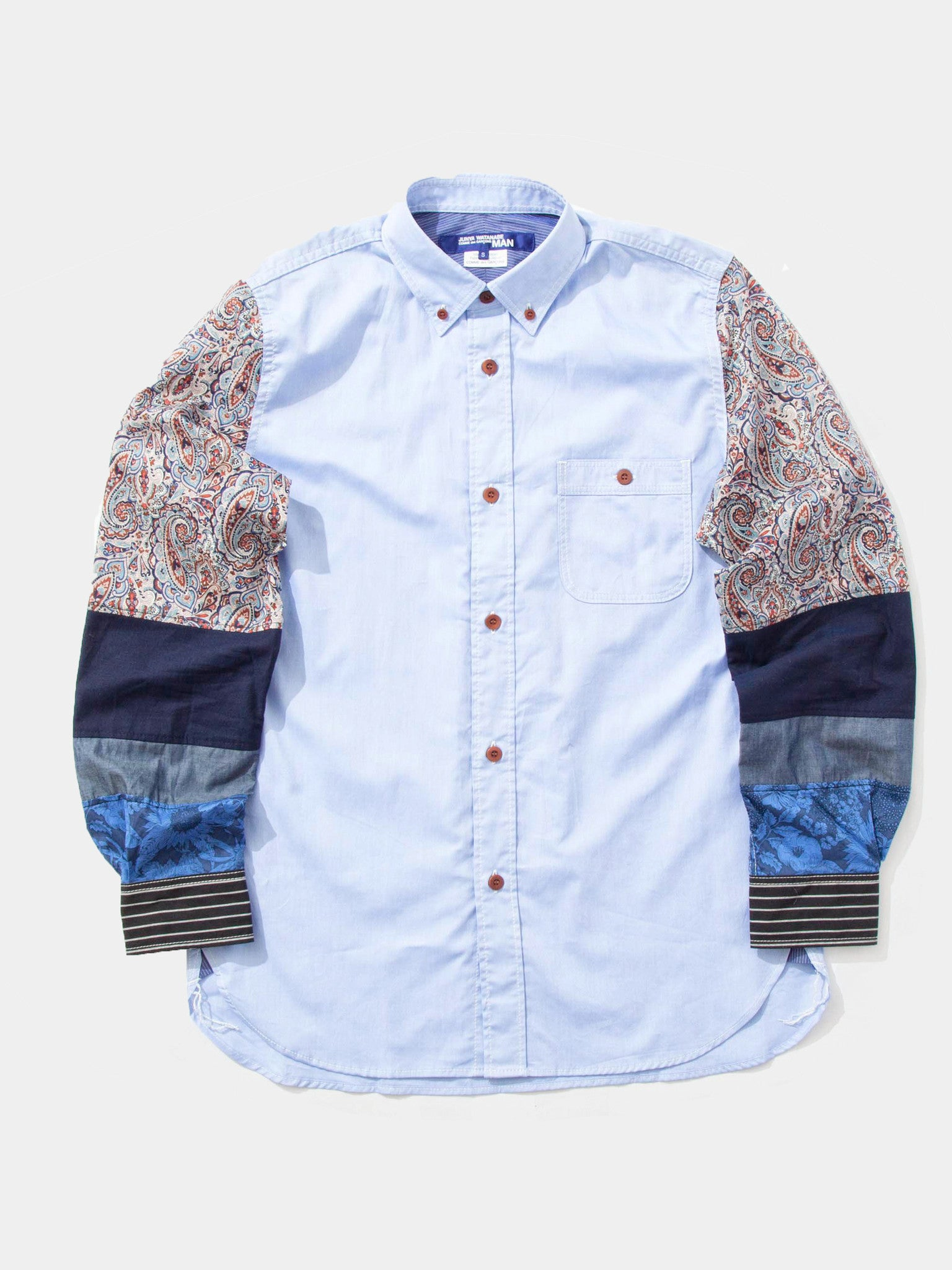 Sax Mixed Pattern Sleeve Oxford Shirt 1