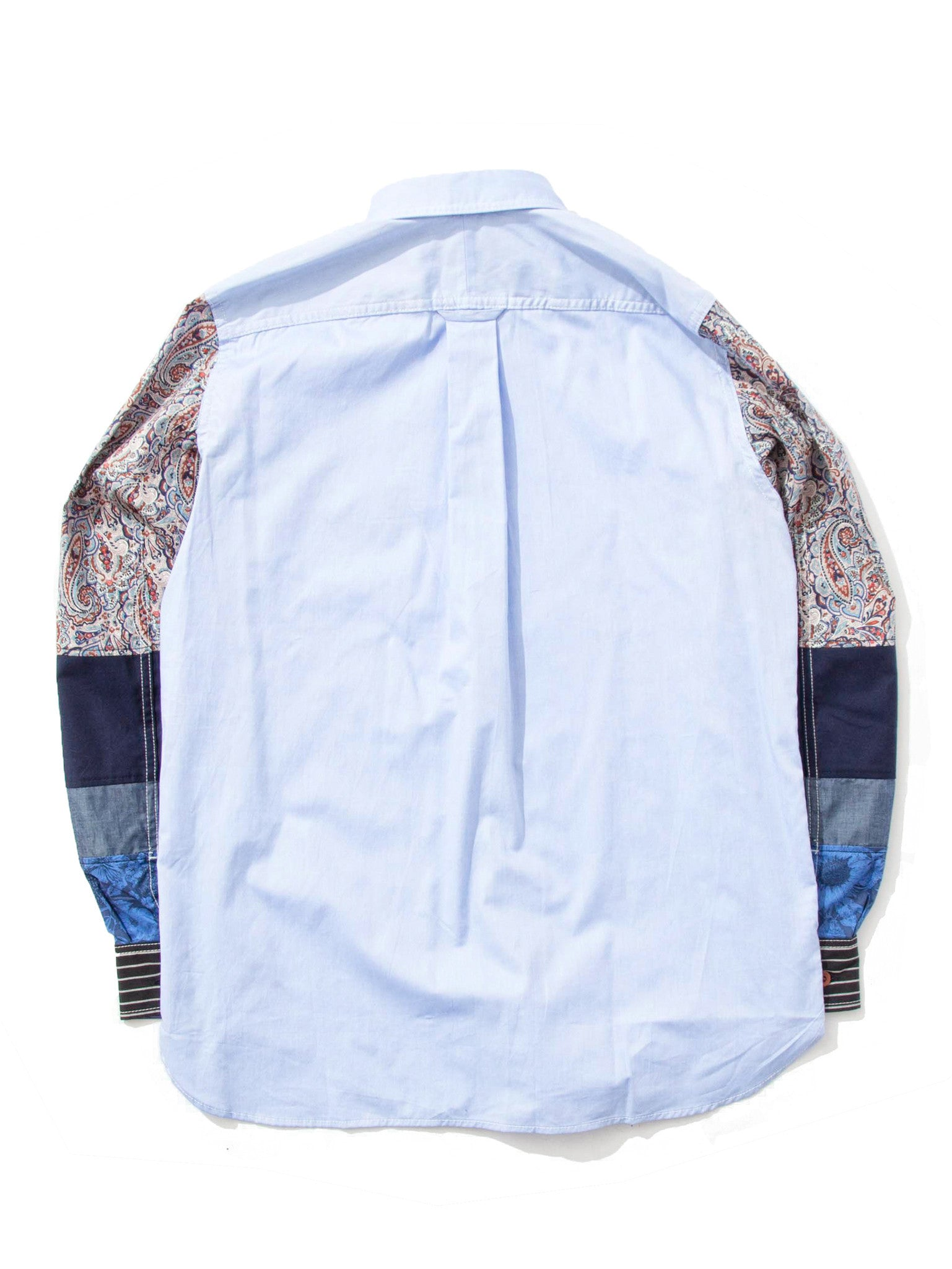 Sax Mixed Pattern Sleeve Oxford Shirt 5