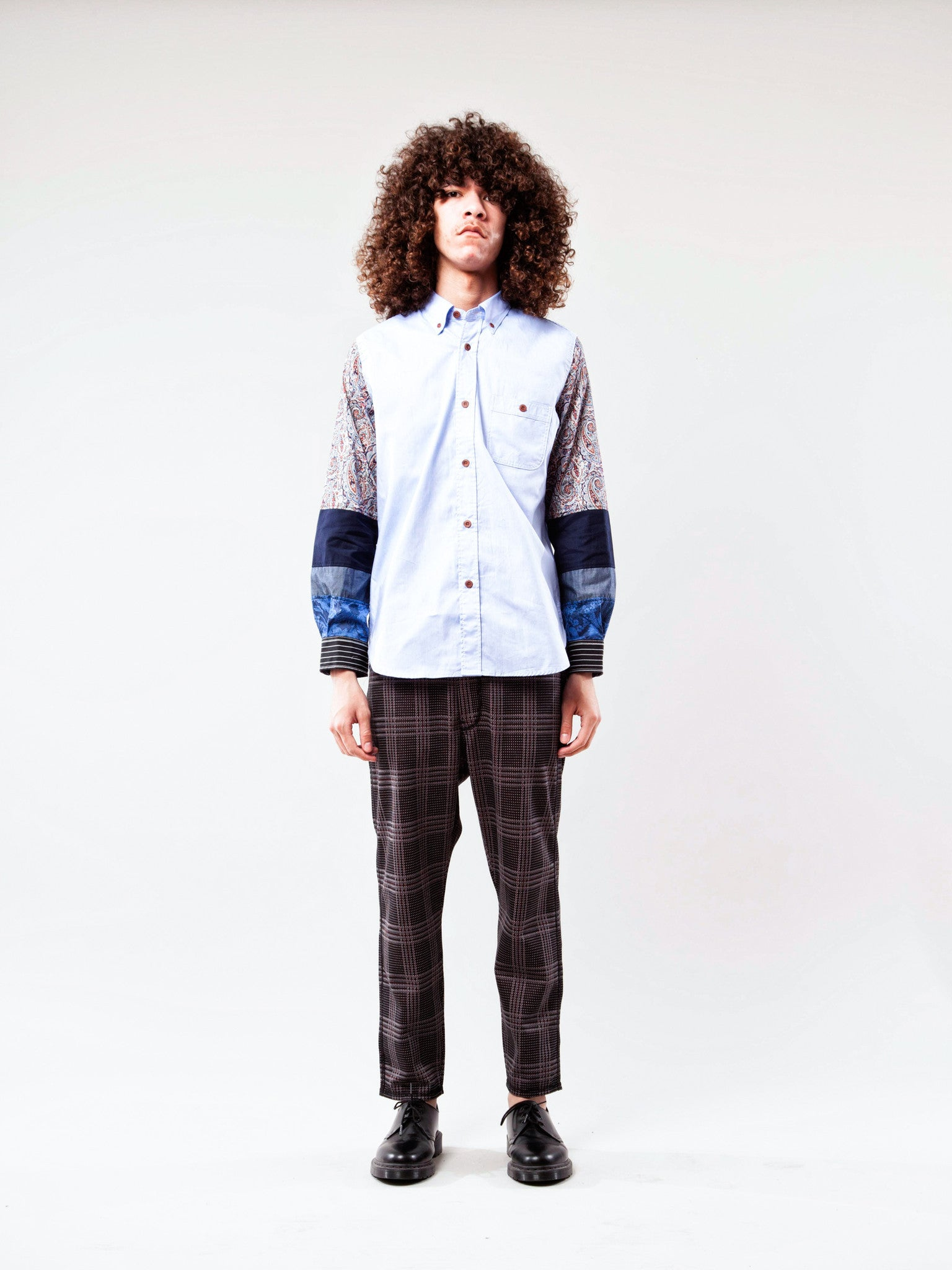Sax Mixed Pattern Sleeve Oxford Shirt 2