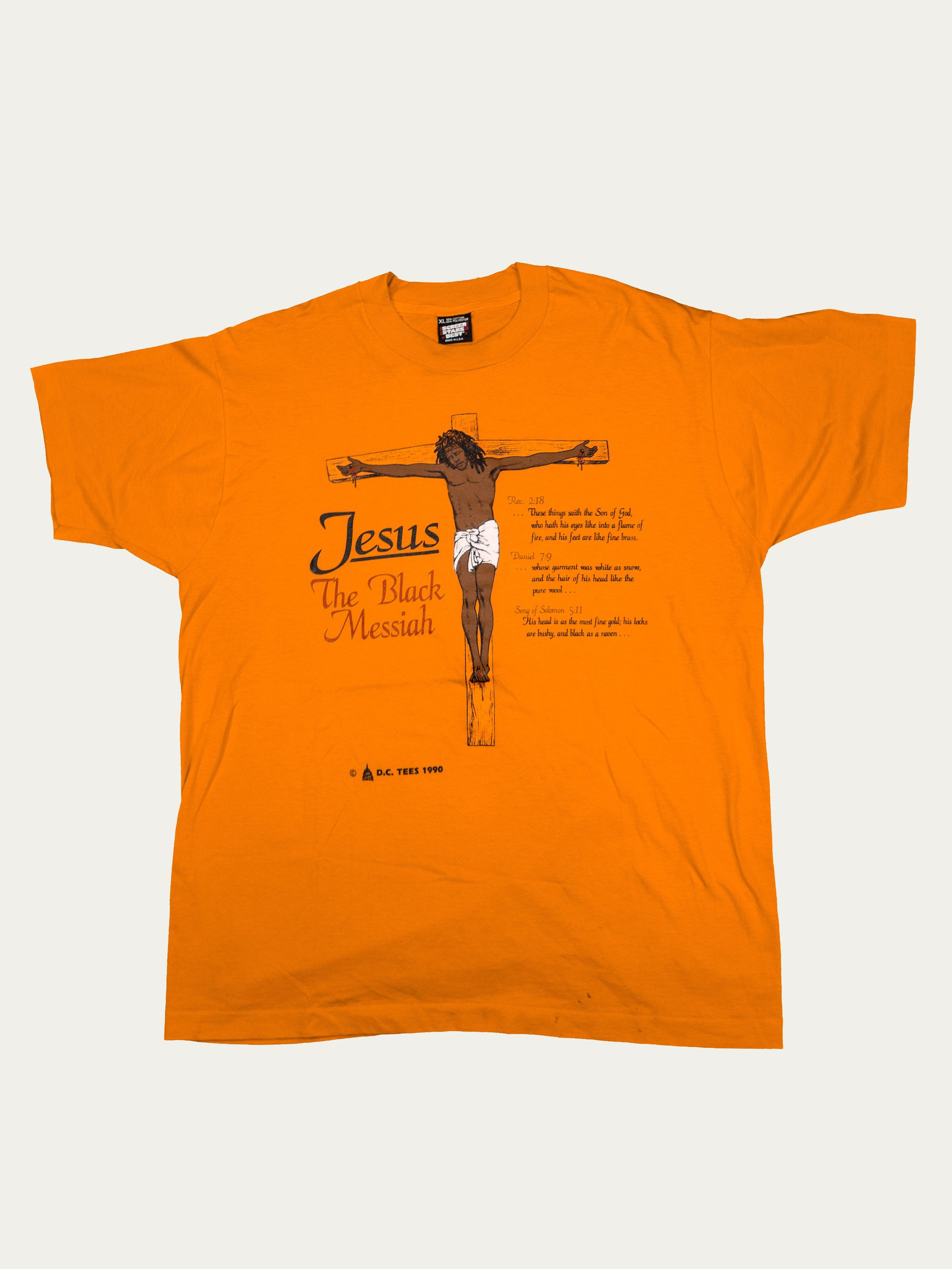 "Orange 1990's ""Jesus The Black Messiah' T-Shirt 1"