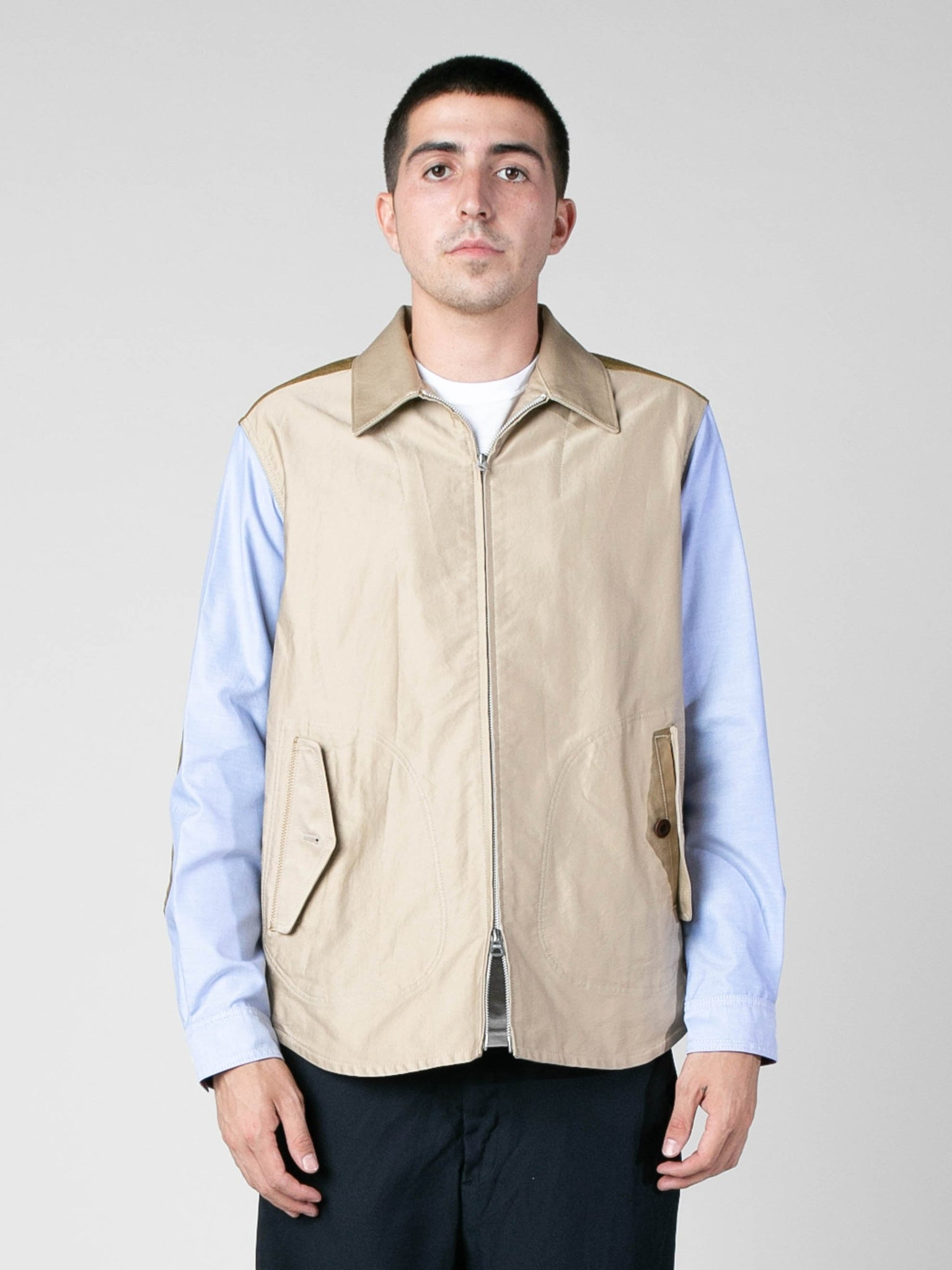 zip-oxford-sleeve-work-shirt
