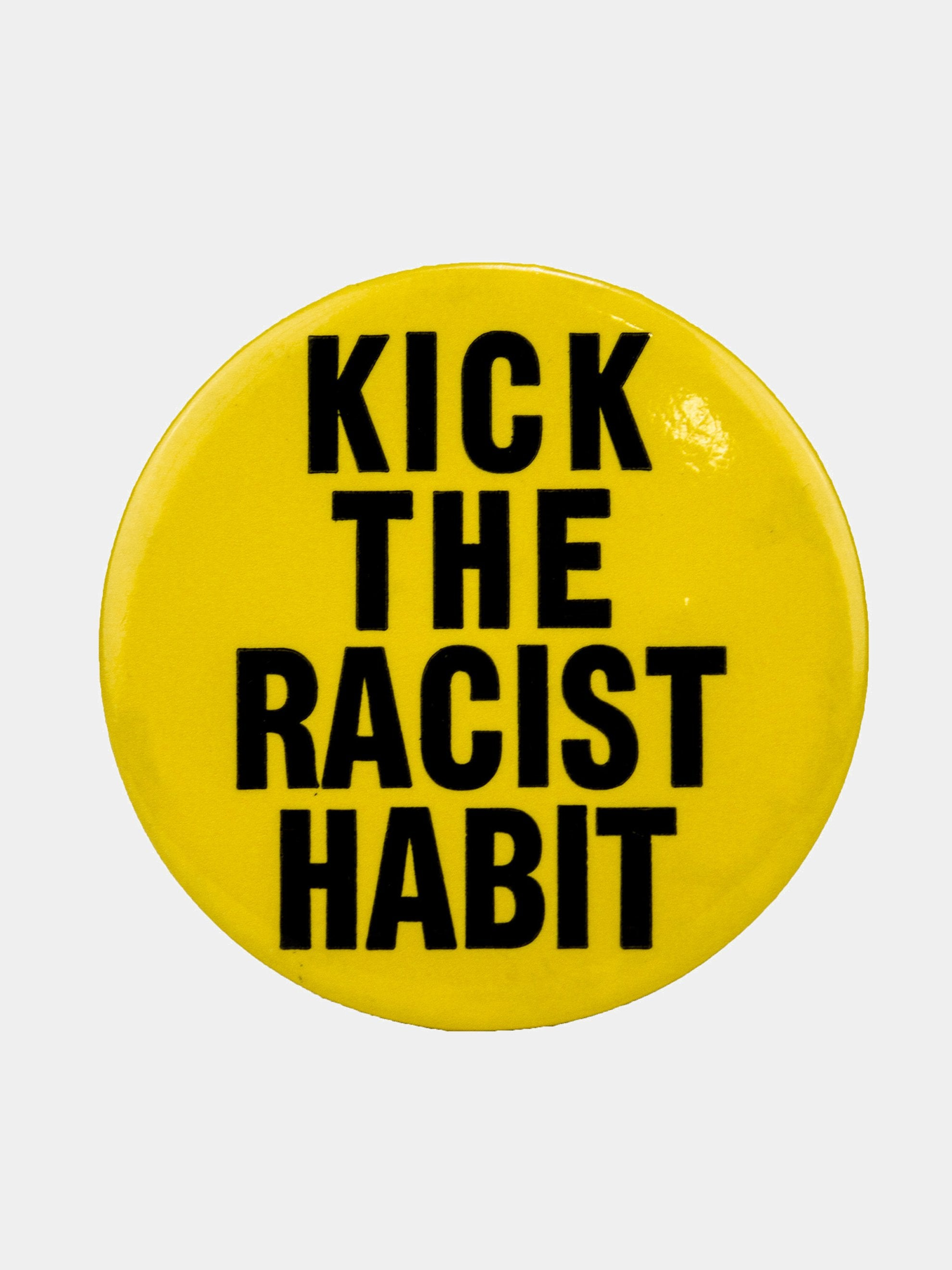 "Yellow Vintage 1970's Activist Protest Pin ""Kick The Racist Habit"" 1"