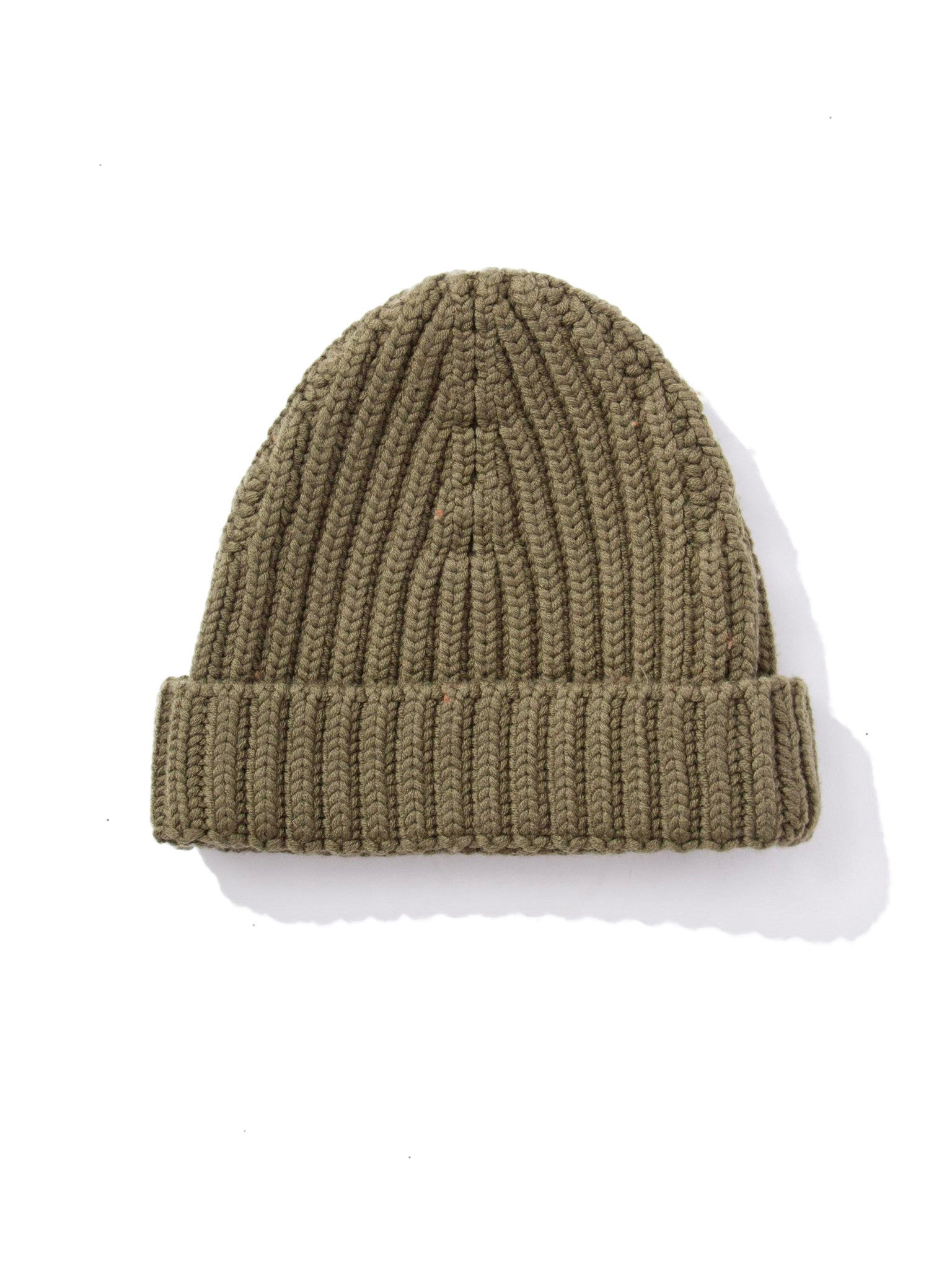 Military Green Five Gauge Ribbed Beanie 4