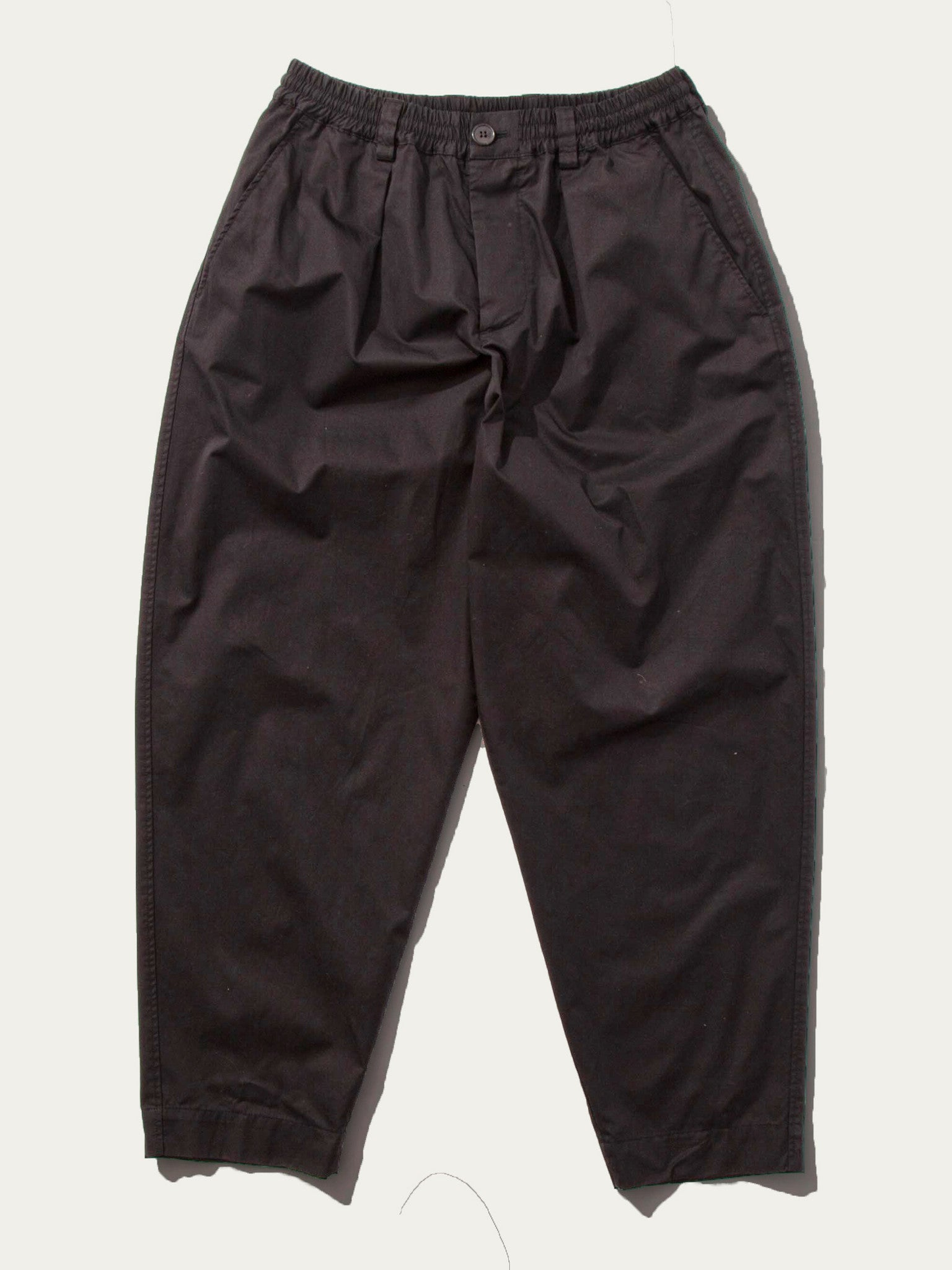 Black Light Washed Cotton Twill Drawstring Trouser 1