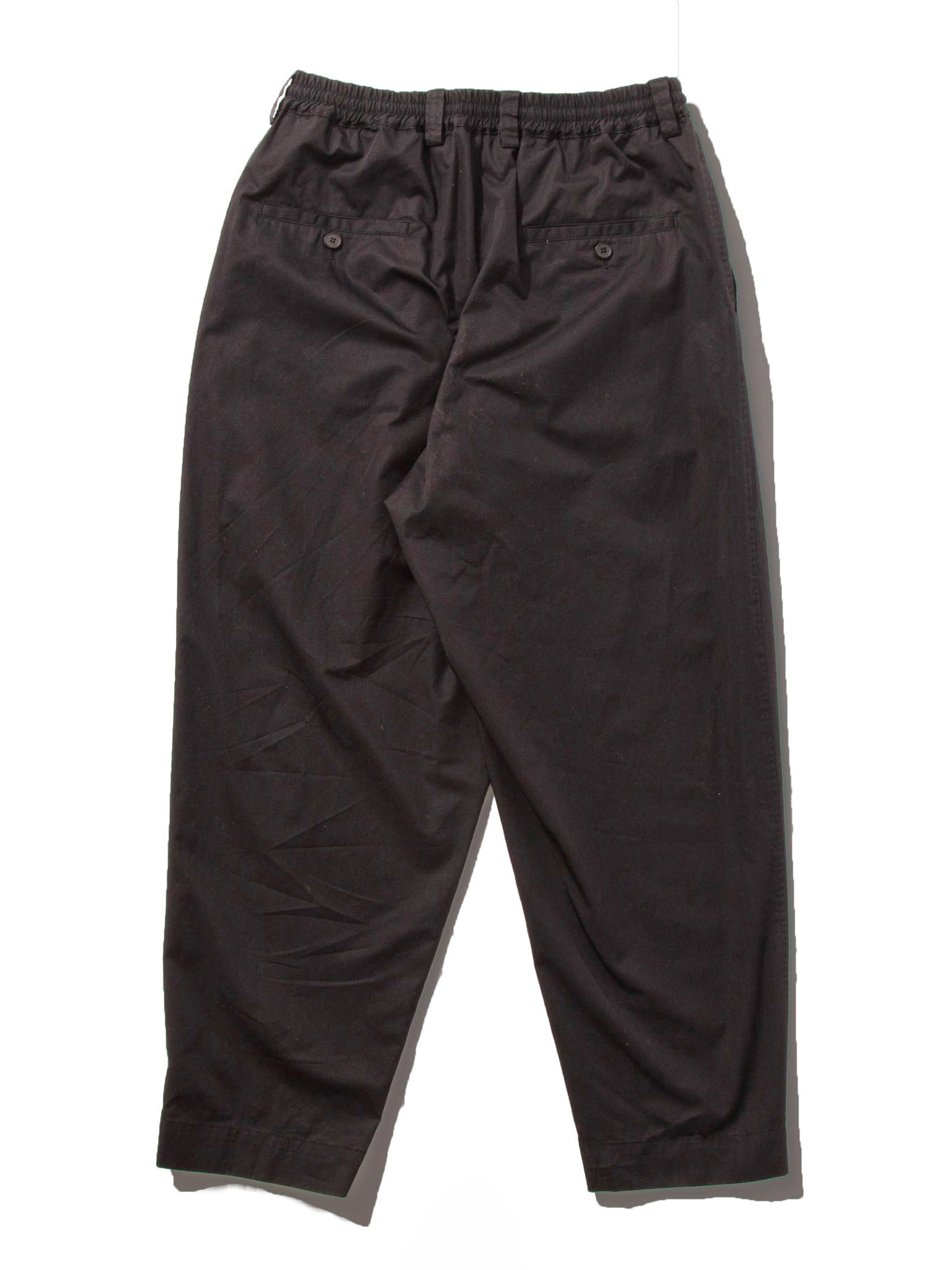 Black Light Washed Cotton Twill Drawstring Trouser 5
