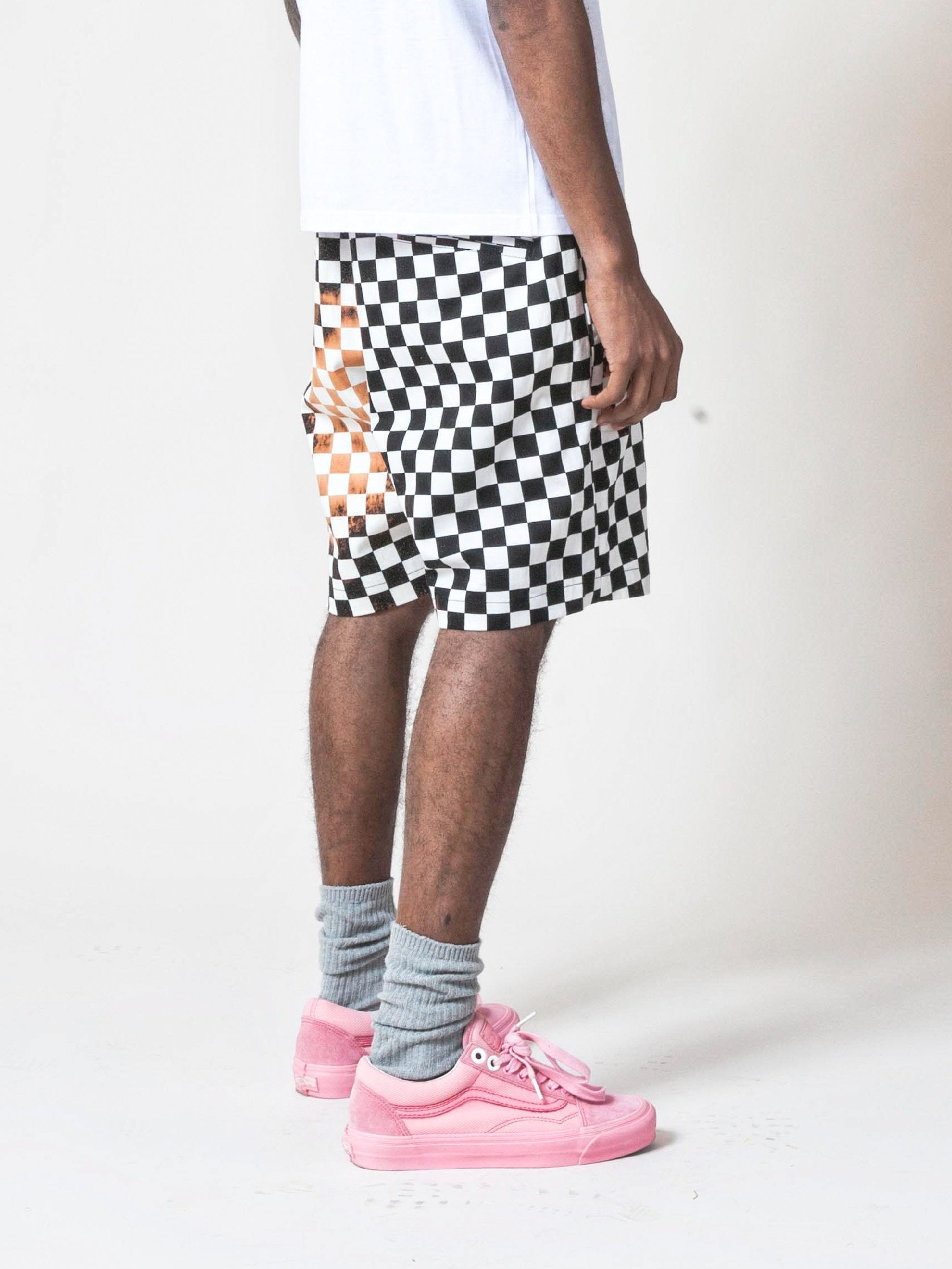 Red Checkerboard/Black Checkerboard Embroidered Printed Shorts 5