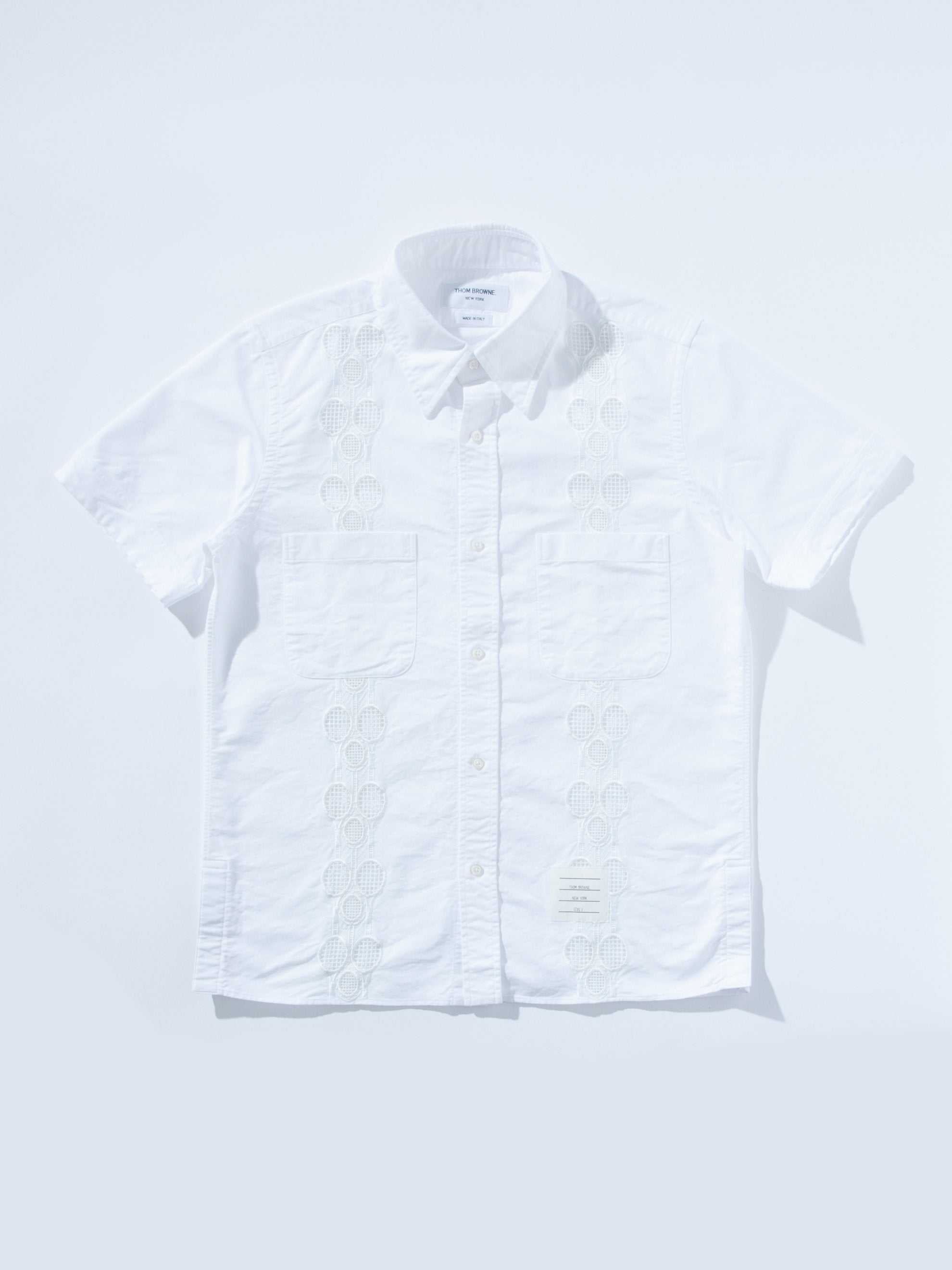 White Cuban Shirt W/ Tennis Racket Embroidery 1