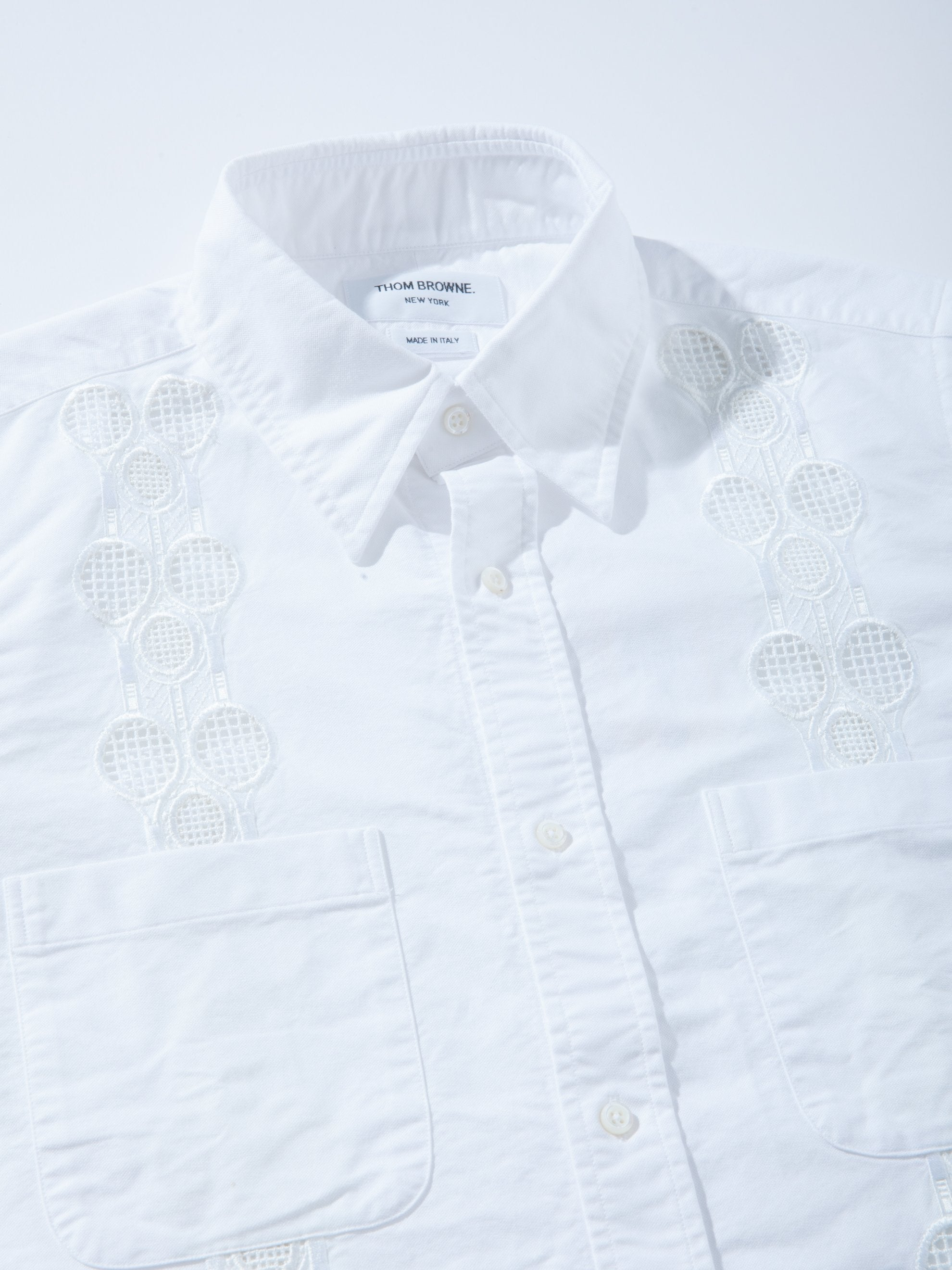 White Cuban Shirt W/ Tennis Racket Embroidery 2