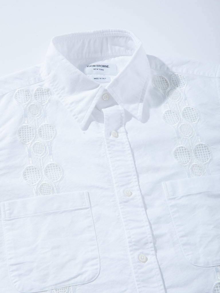 White Cuban Shirt W/ Tennis Racket Embroidery 21081219219465