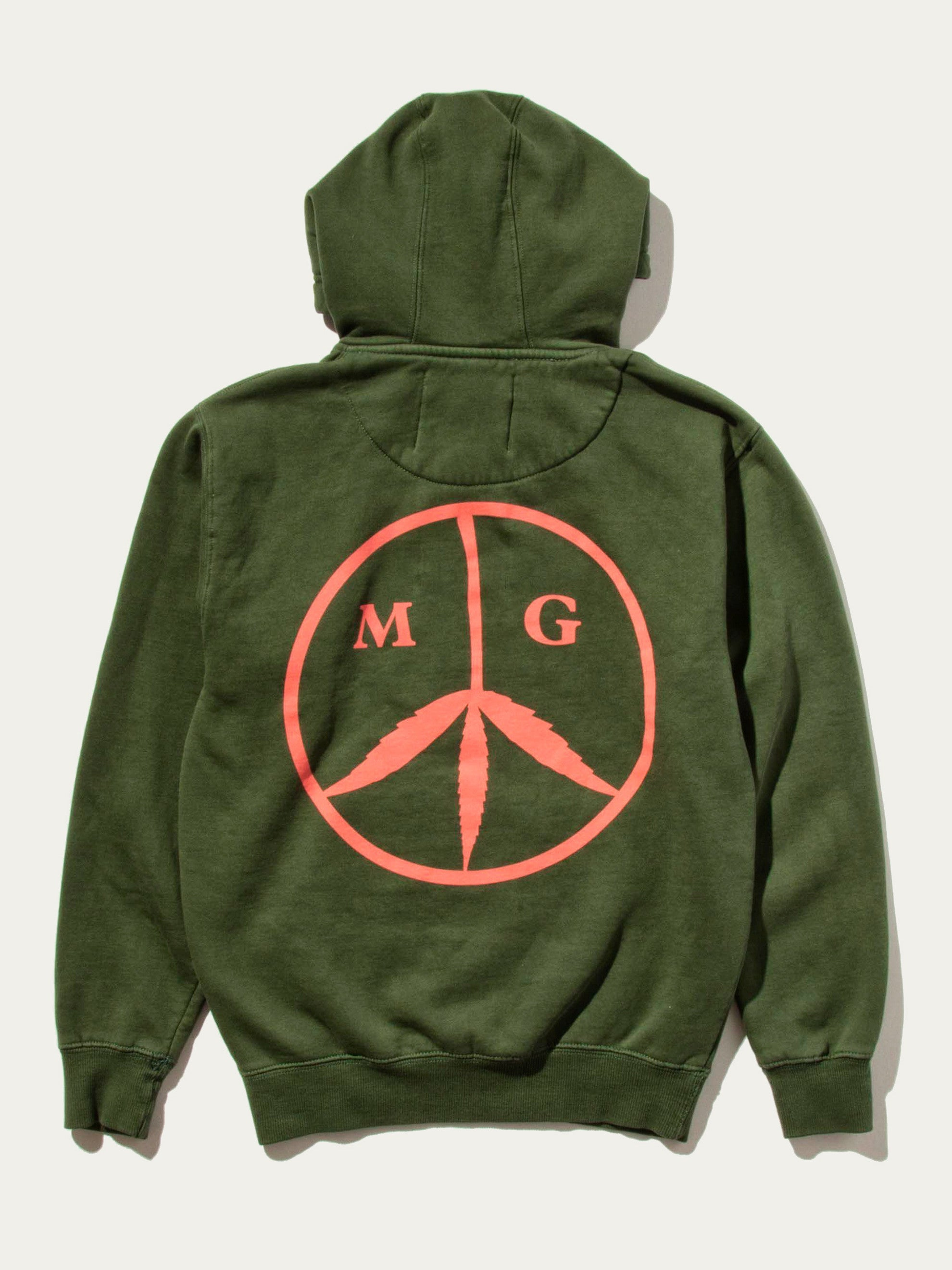 Forest Green Peace Hooded Sweatshirt 1