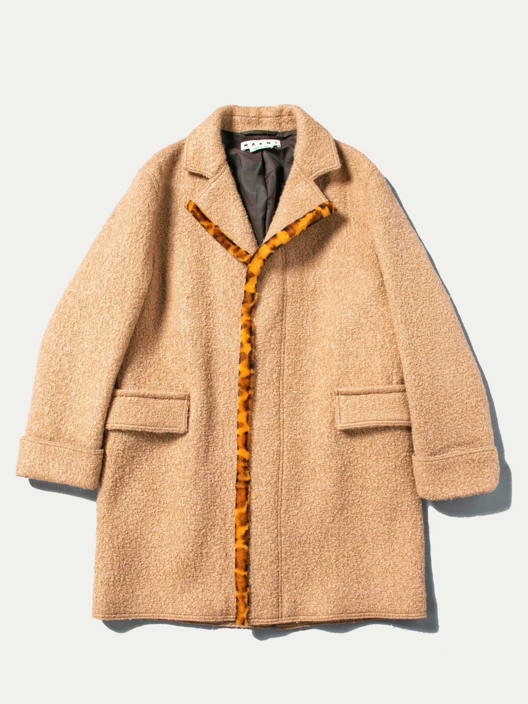 Camel Leopard Edged Overcoat 1