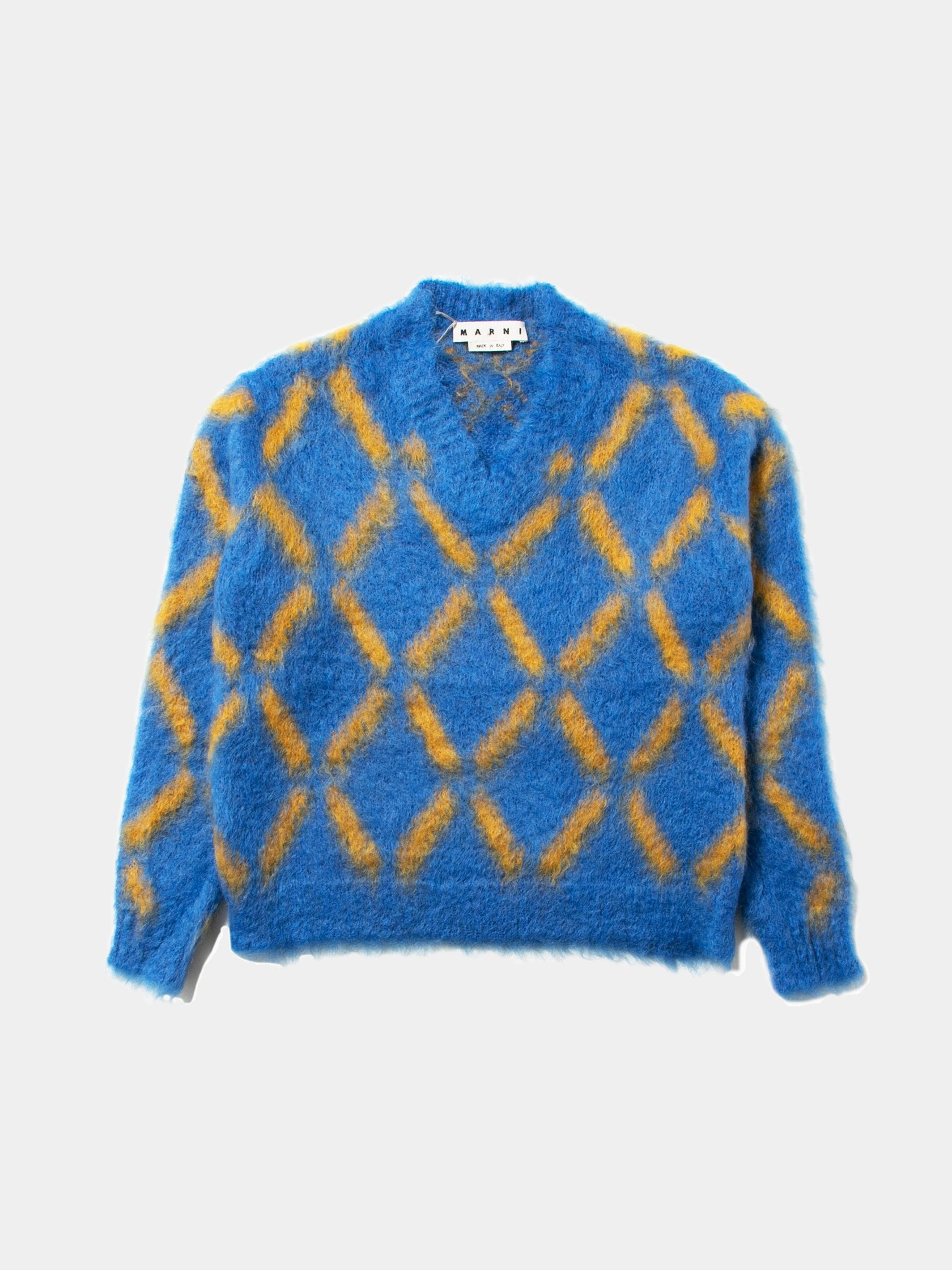 Blue / Yellow Patterned Stripe V-Neck Sweater 1