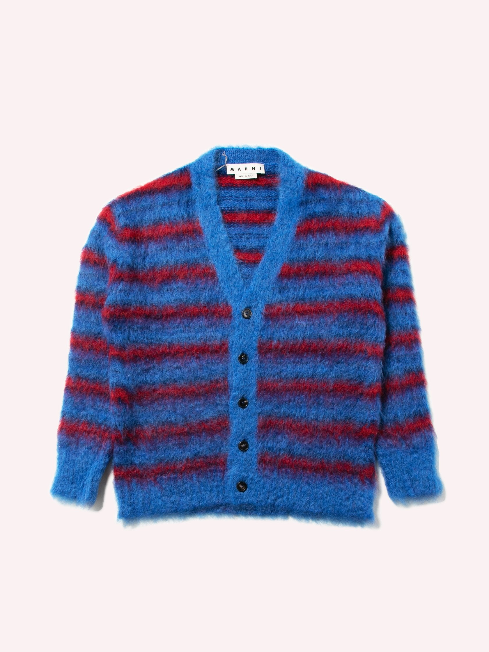 Blue / Red Cardigan In Striped Gauzed Mohair 1