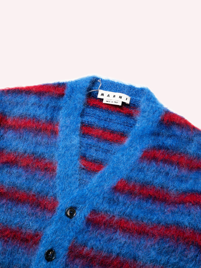 Blue / Red Cardigan In Striped Gauzed Mohair 613570595094605
