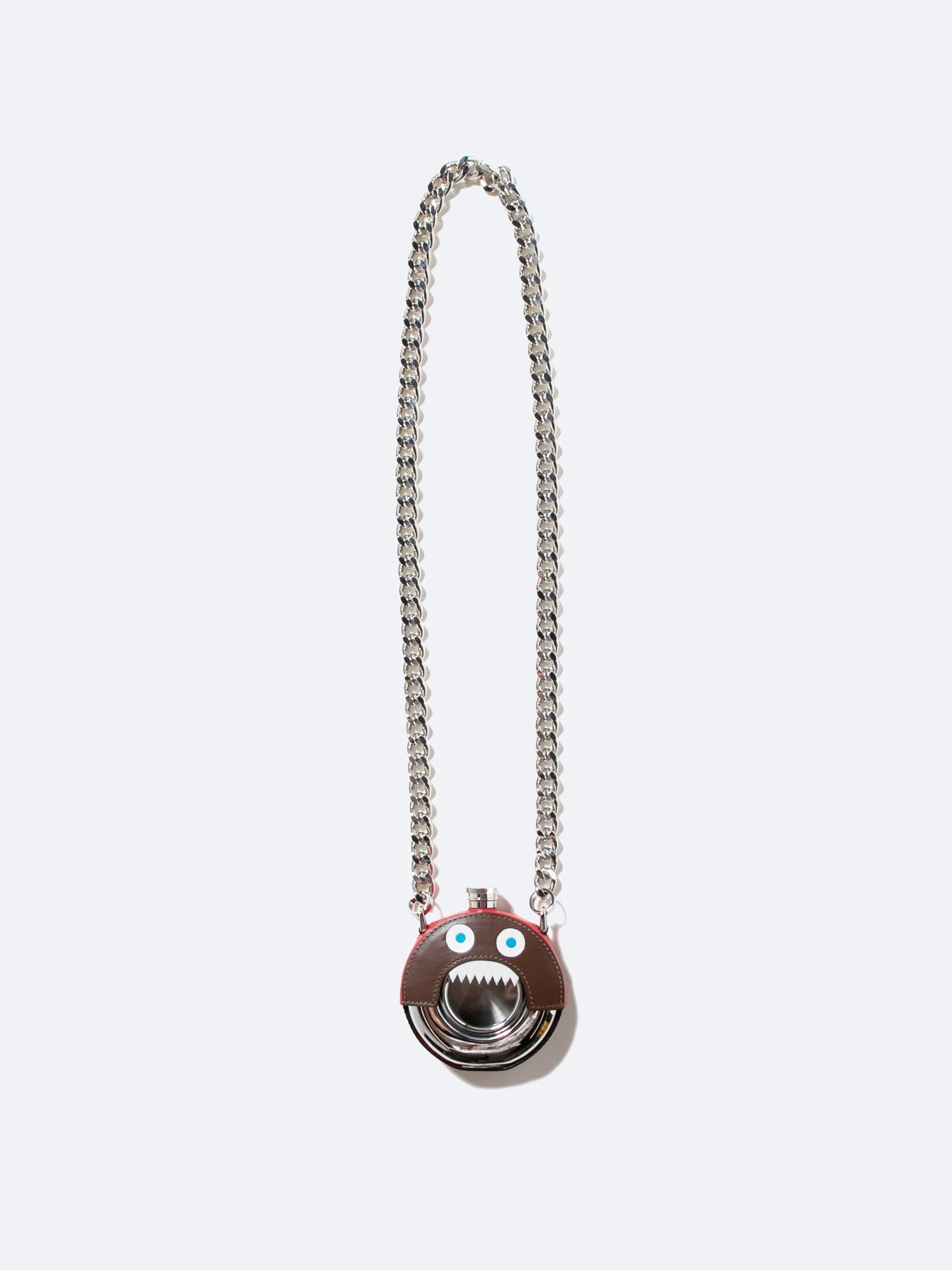 Brown Metal And Leather Monster Necklace 1