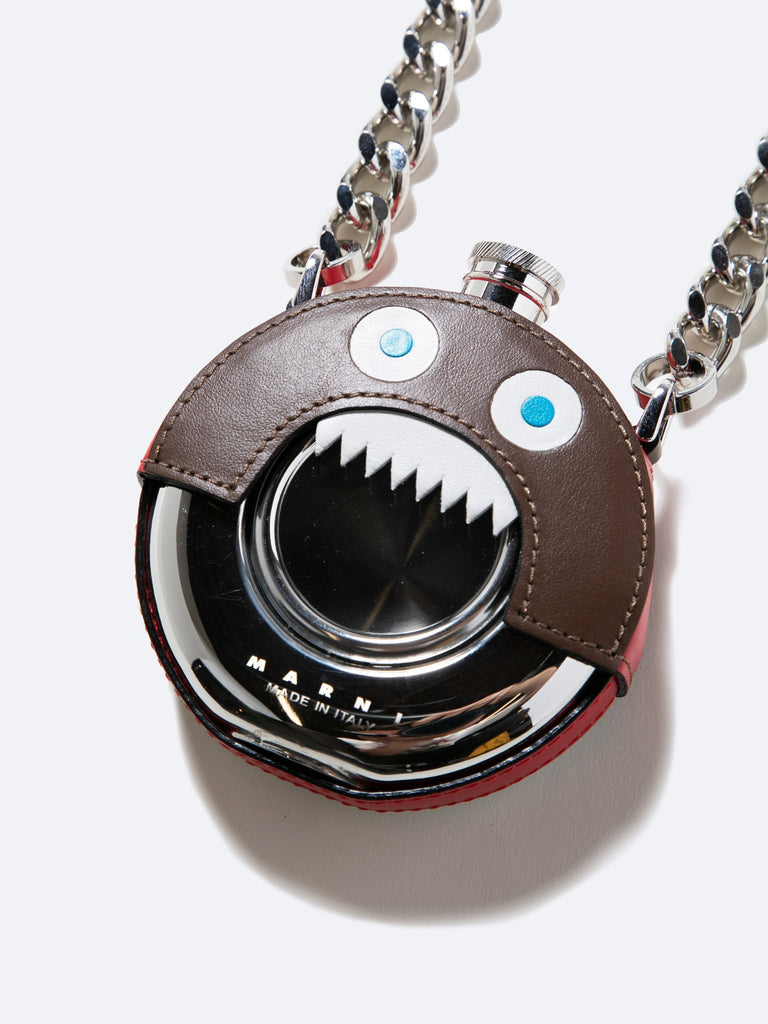 Brown Metal And Leather Monster Necklace 213570600632397