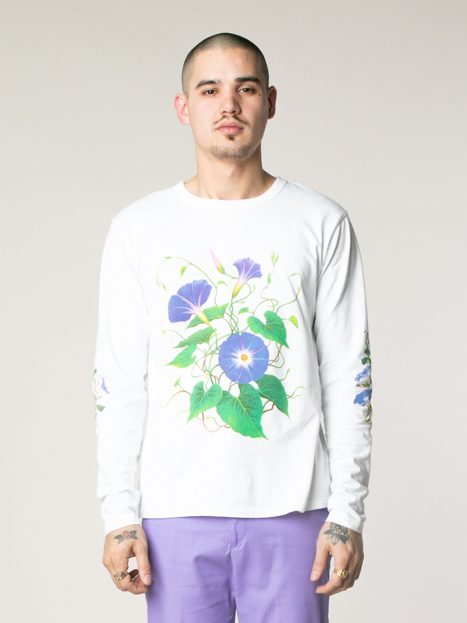White Morning Glory Long Sleeve T-Shirts 2