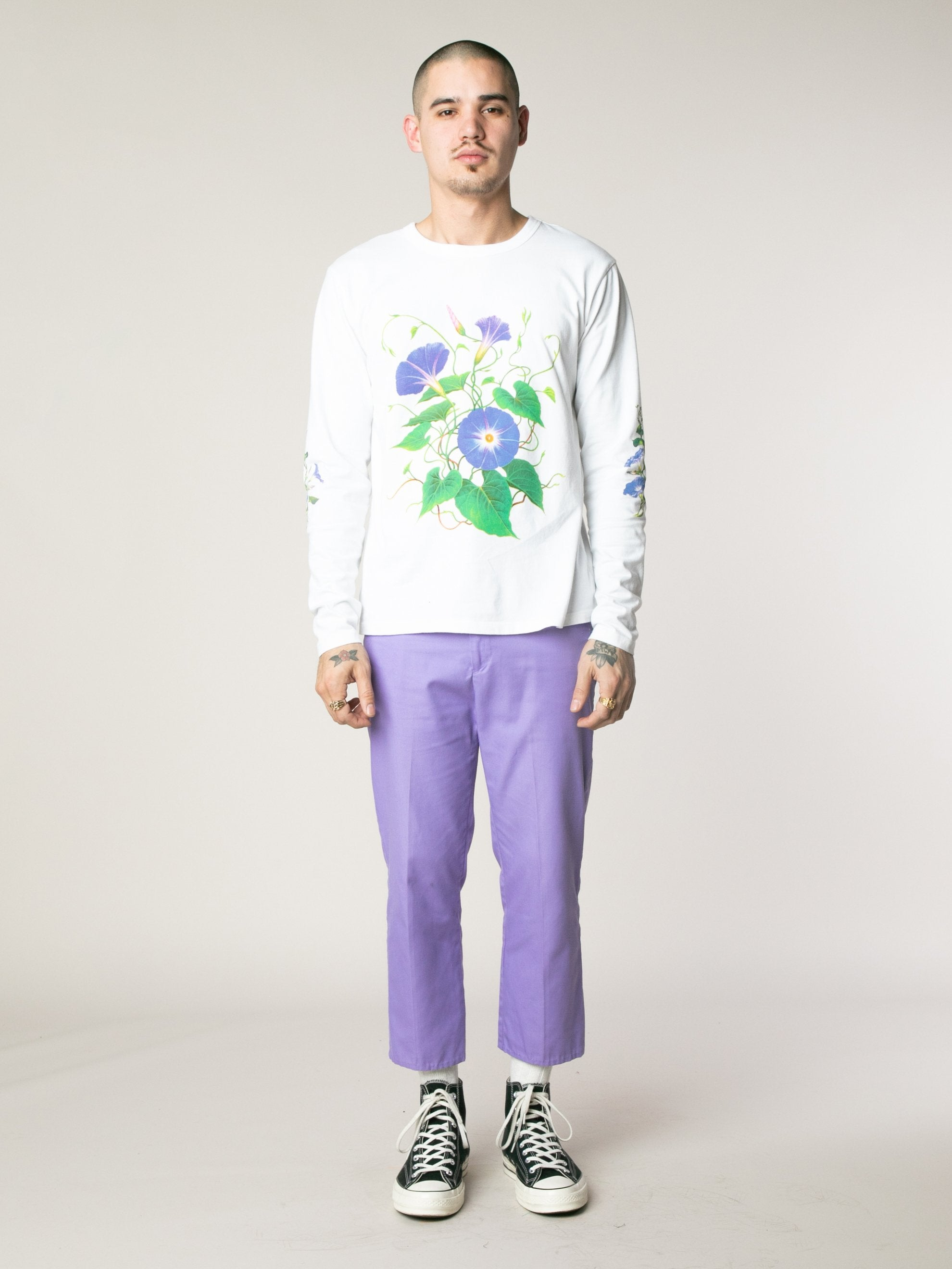 White Morning Glory Long Sleeve T-Shirts 3