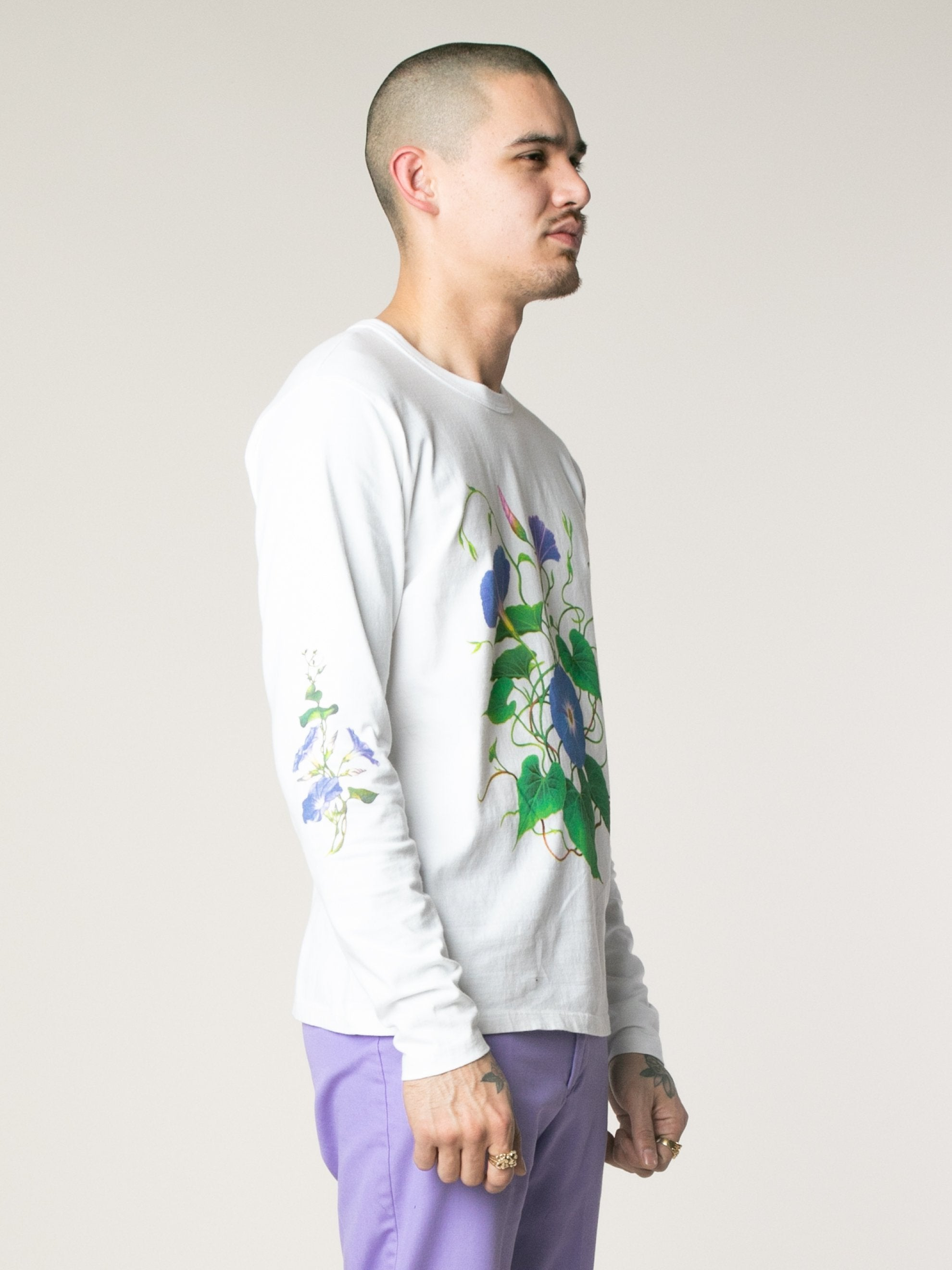 White Morning Glory Long Sleeve T-Shirts 4