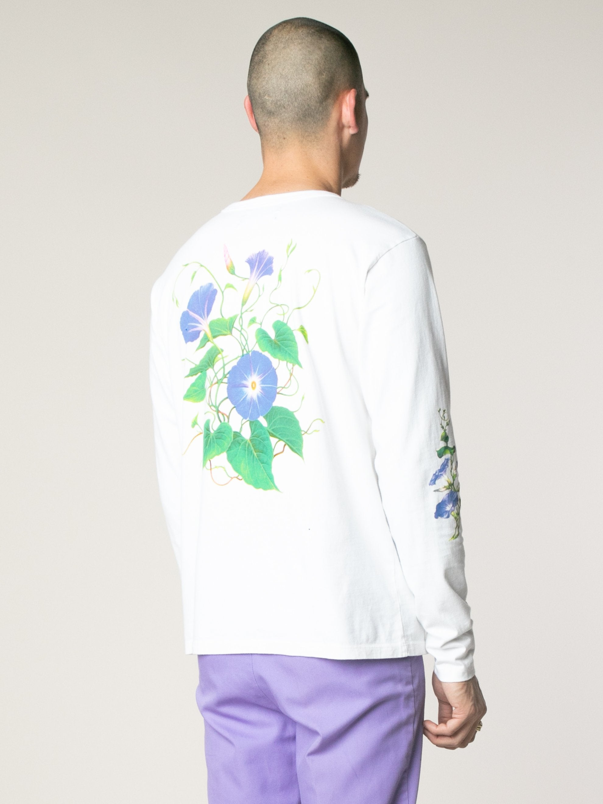 White Morning Glory Long Sleeve T-Shirts 5
